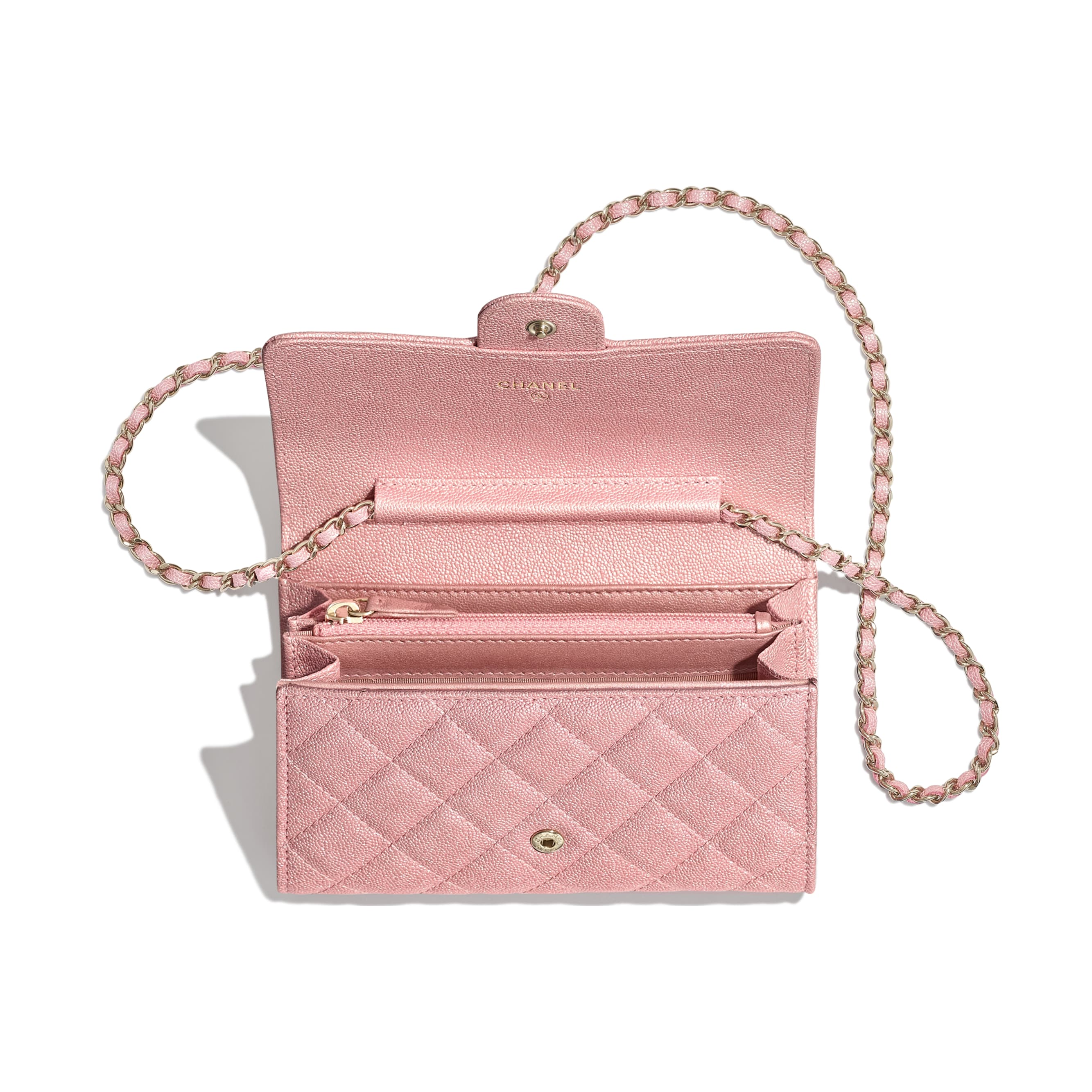 Classic Clutch with Chain - Pink - Iridescent Grained Calfskin & Gold-Tone Metal - Other view - see standard sized version