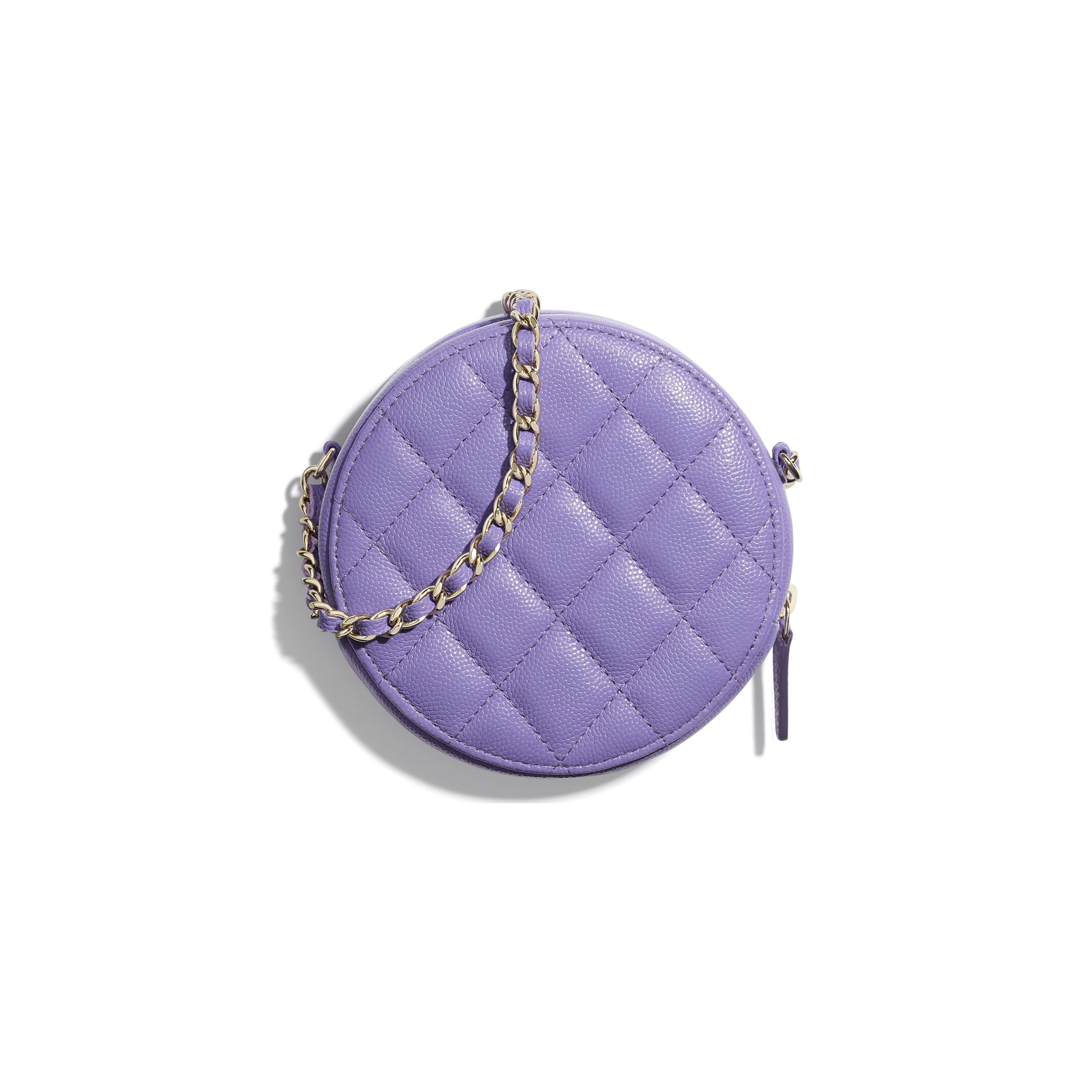 Classic Clutch With Chain - Purple - Grained Calfskin & Gold-Tone Metal - CHANEL - Alternative view - see standard sized version
