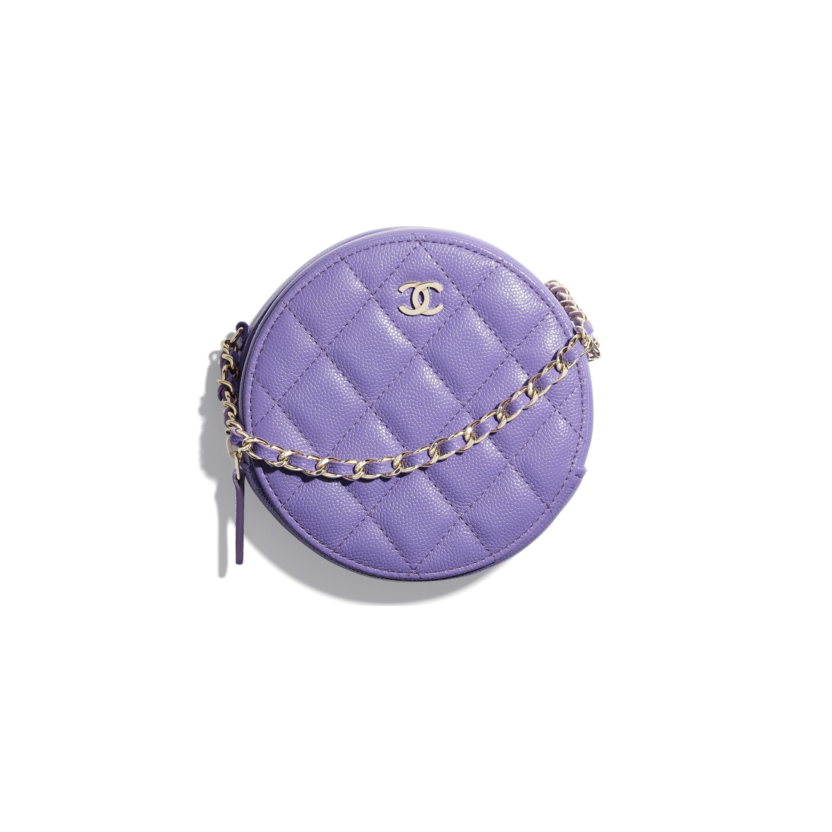 Classic Clutch With Chain - Purple - Grained Calfskin & Gold-Tone Metal - CHANEL - Default view - see standard sized version