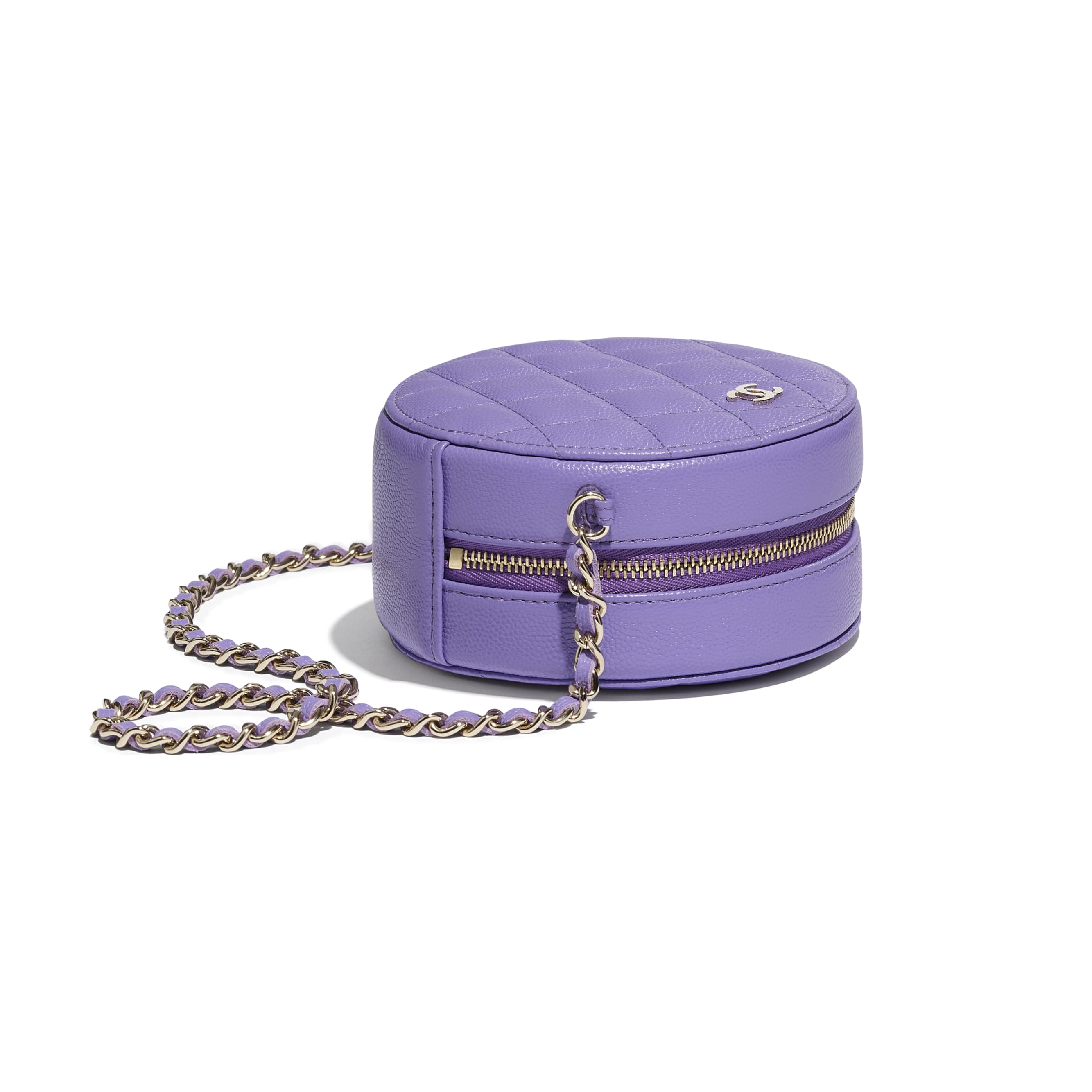 Classic Clutch With Chain - Purple - Grained Calfskin & Gold-Tone Metal - CHANEL - Extra view - see standard sized version