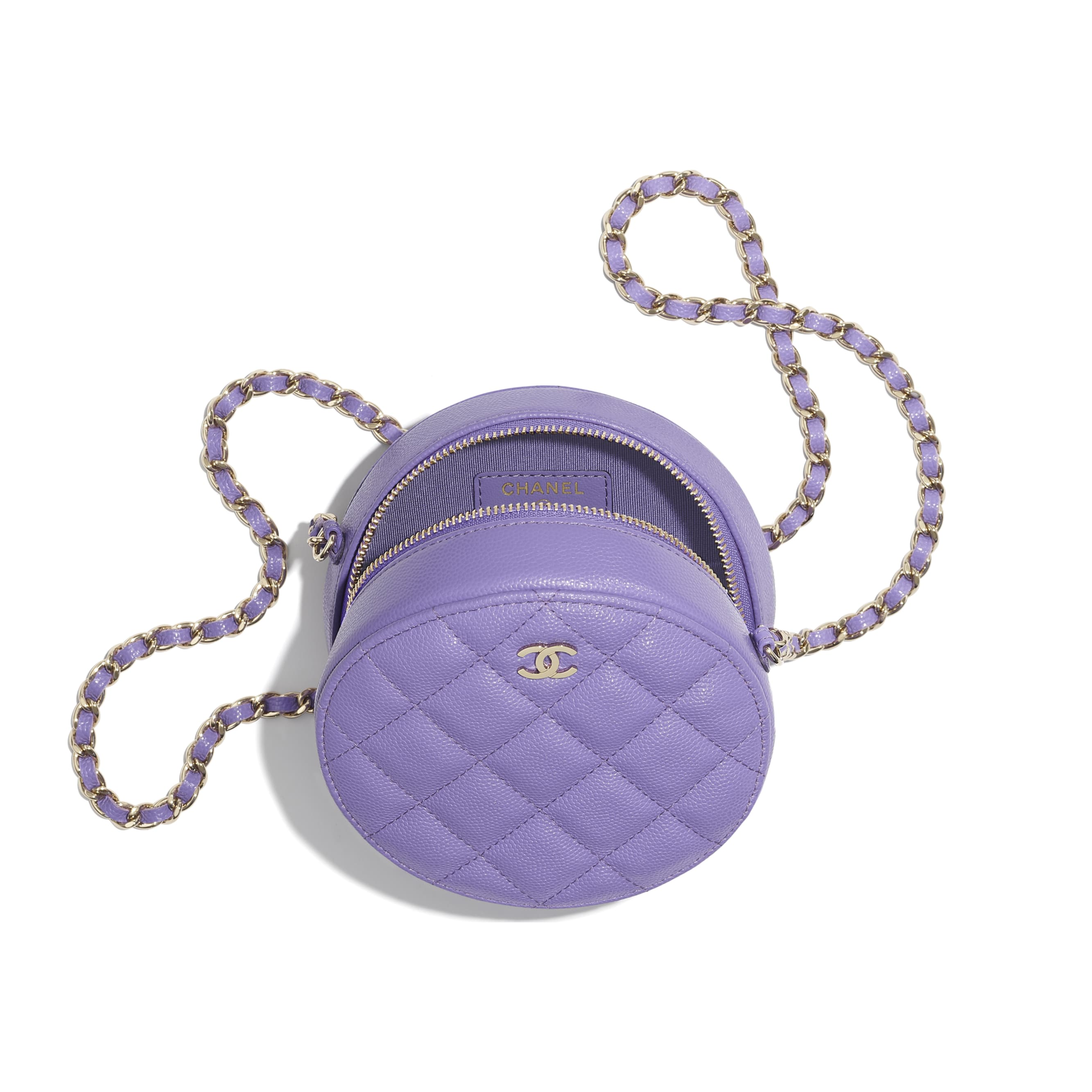 Classic Clutch With Chain - Purple - Grained Calfskin & Gold-Tone Metal - CHANEL - Other view - see standard sized version