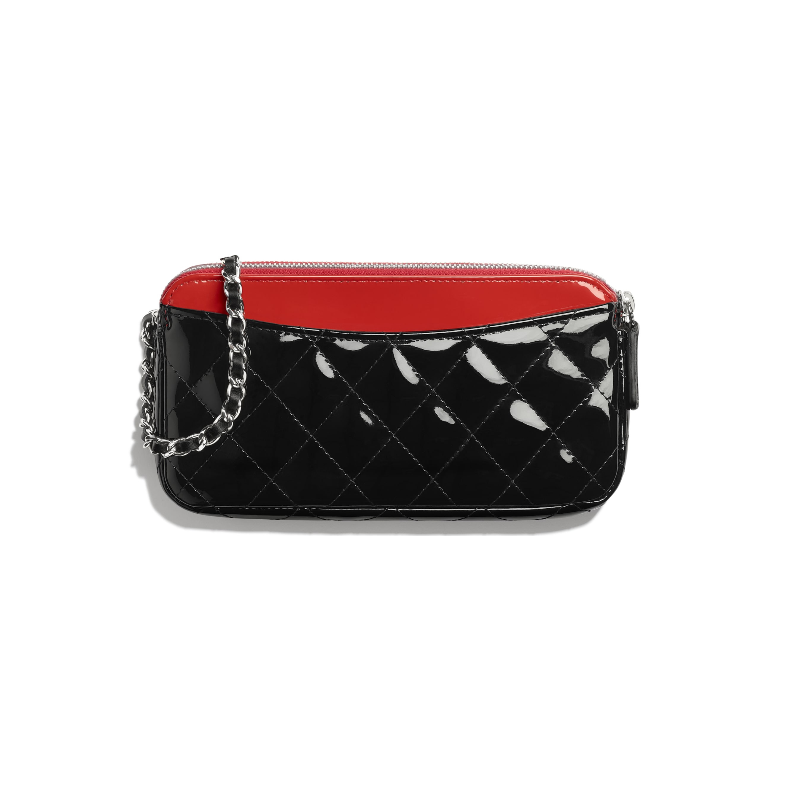 Classic Clutch With Chain - Red & Black - Patent Calfskin - Alternative view - see standard sized version