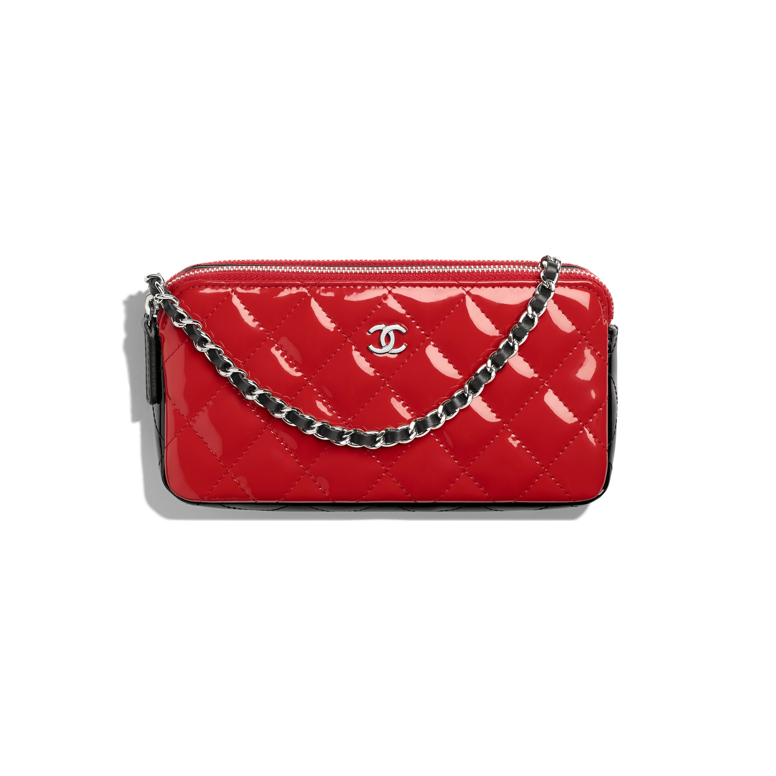 Classic Clutch With Chain - Red & Black - Patent Calfskin - Default view - see standard sized version