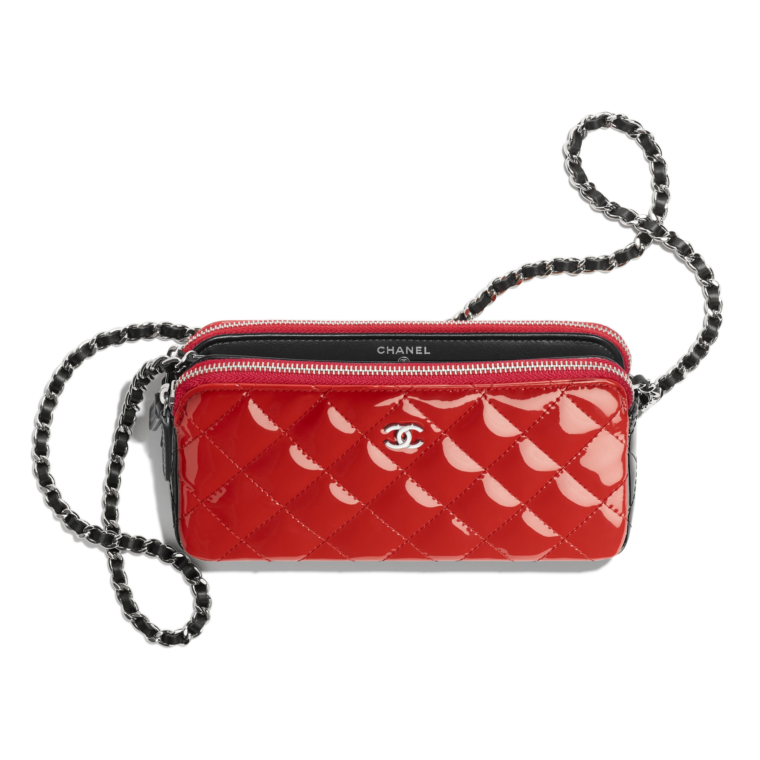 Classic Clutch With Chain - Red & Black - Patent Calfskin - Other view - see standard sized version