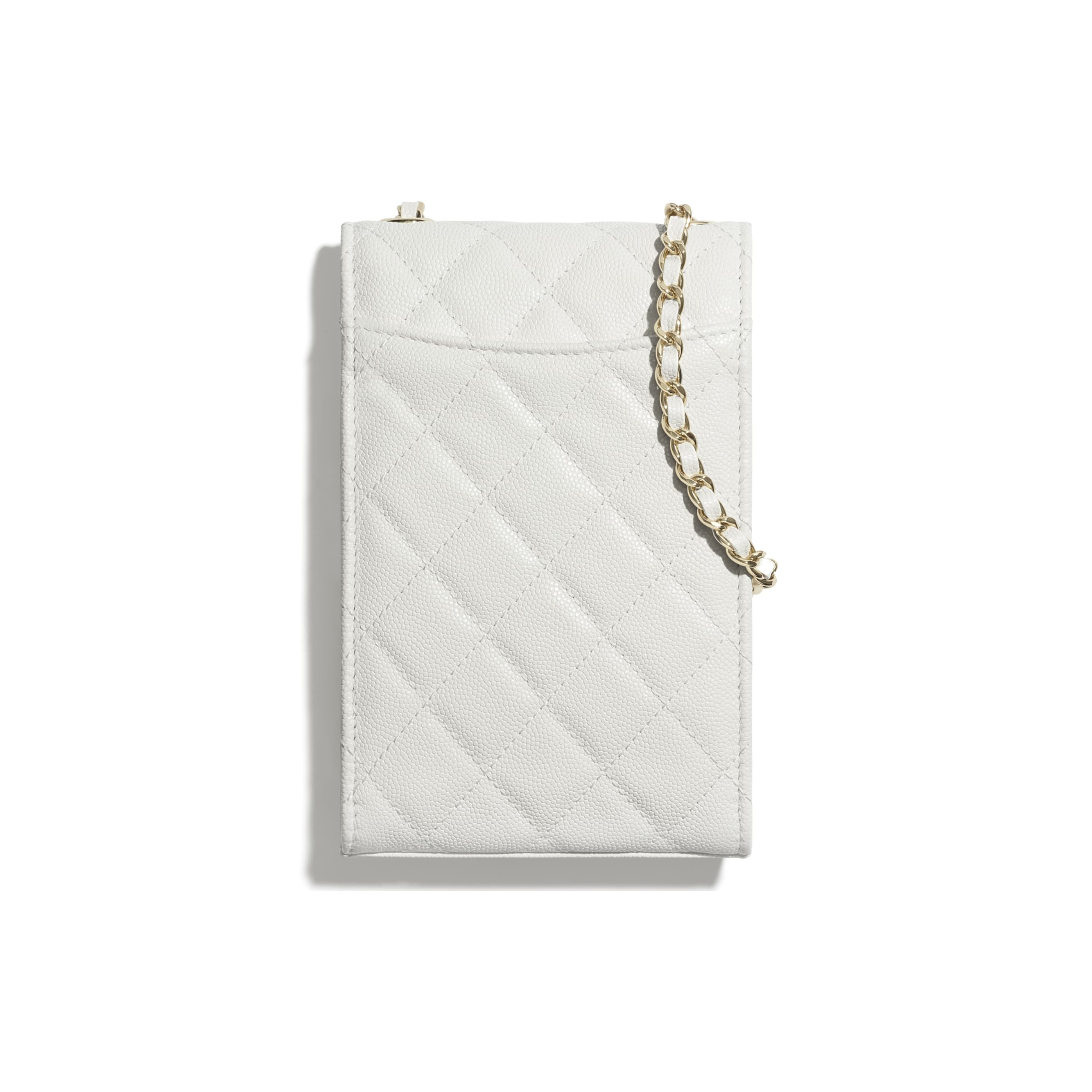 Classic Clutch With Chain - White - Grained Shiny Calfskin & Gold-Tone Metal - CHANEL - Alternative view - see standard sized version
