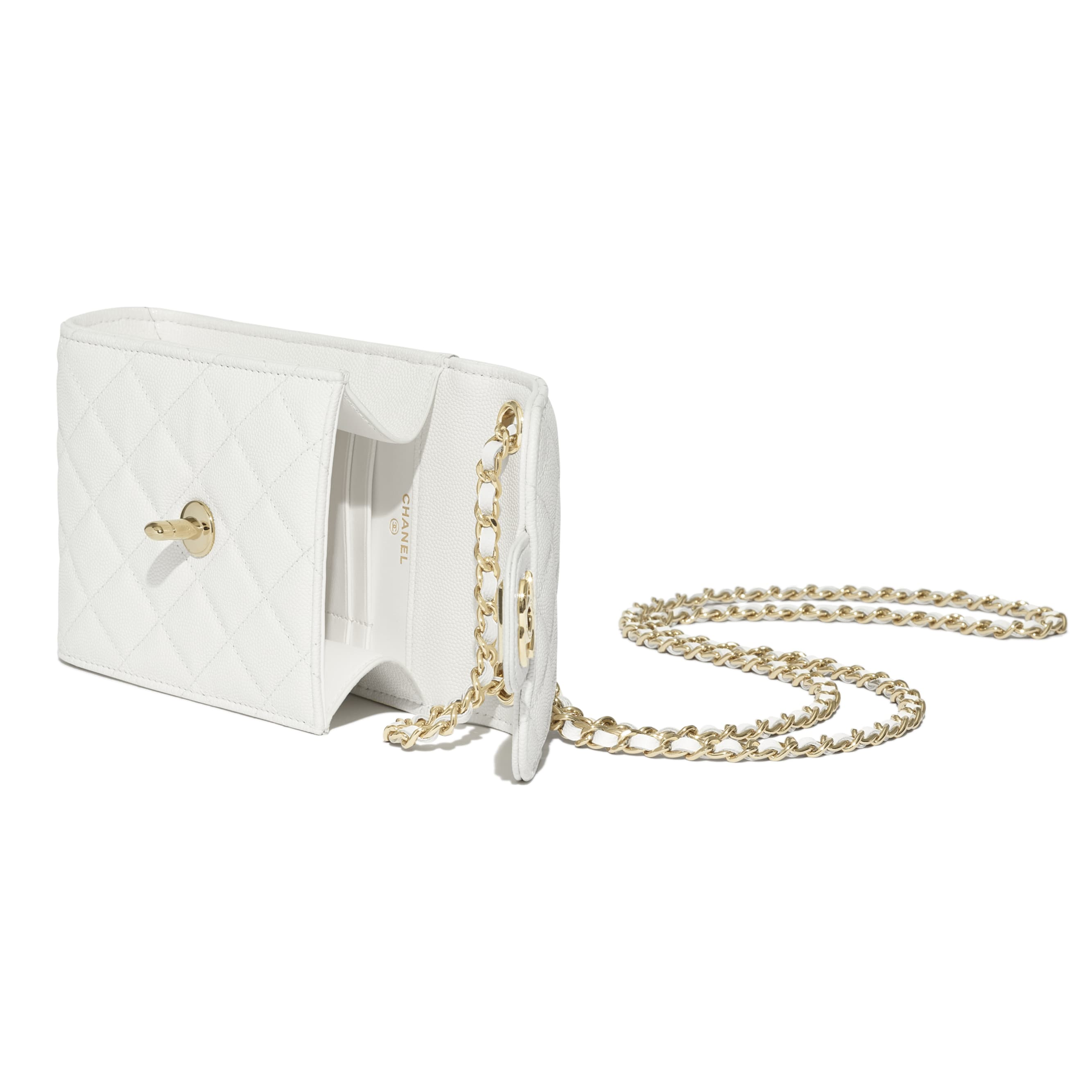 Classic Clutch With Chain - White - Grained Shiny Calfskin & Gold-Tone Metal - CHANEL - Extra view - see standard sized version
