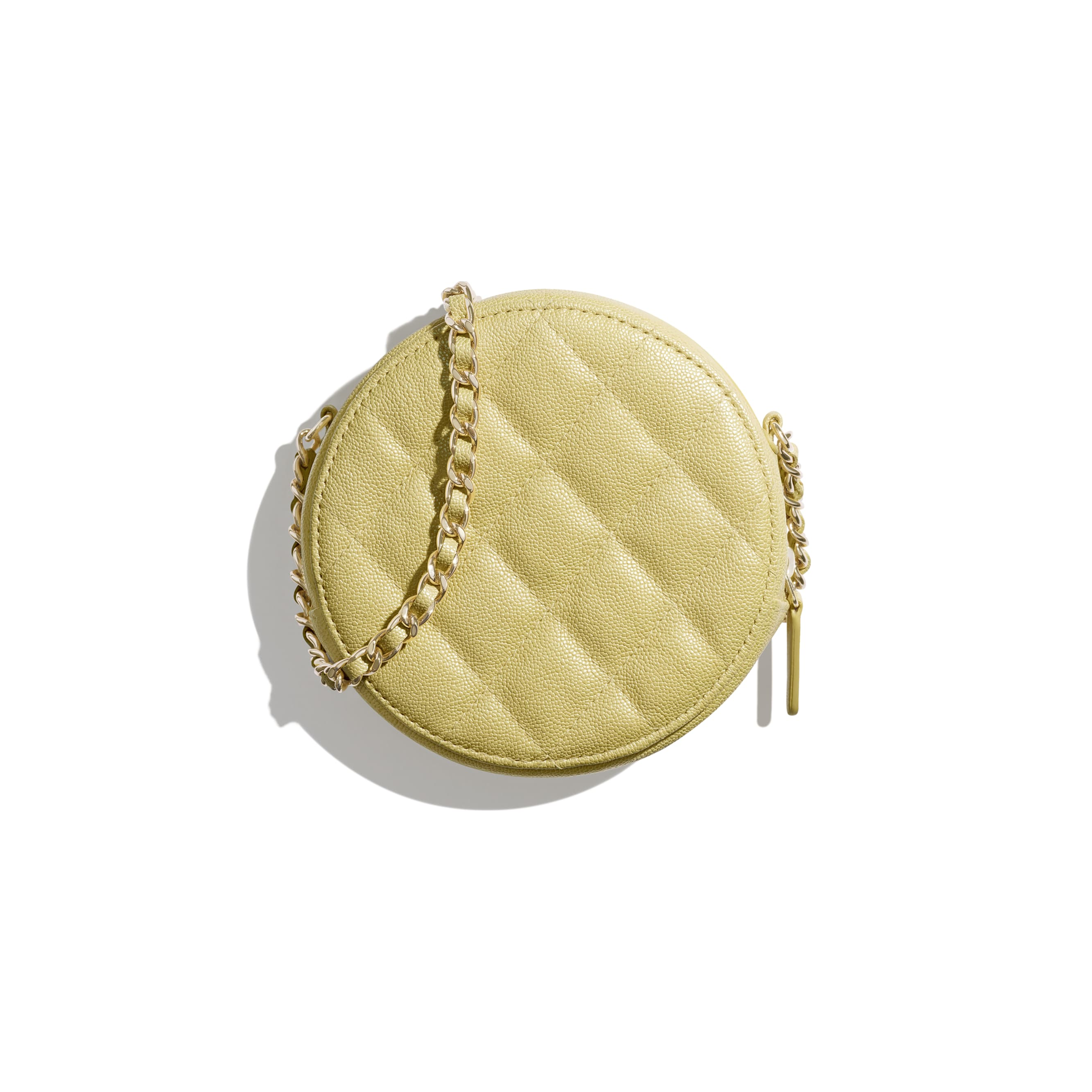 Classic Clutch with Chain - Yellow - Iridescent Grained Calfskin & Gold-Tone Metal - Alternative view - see standard sized version