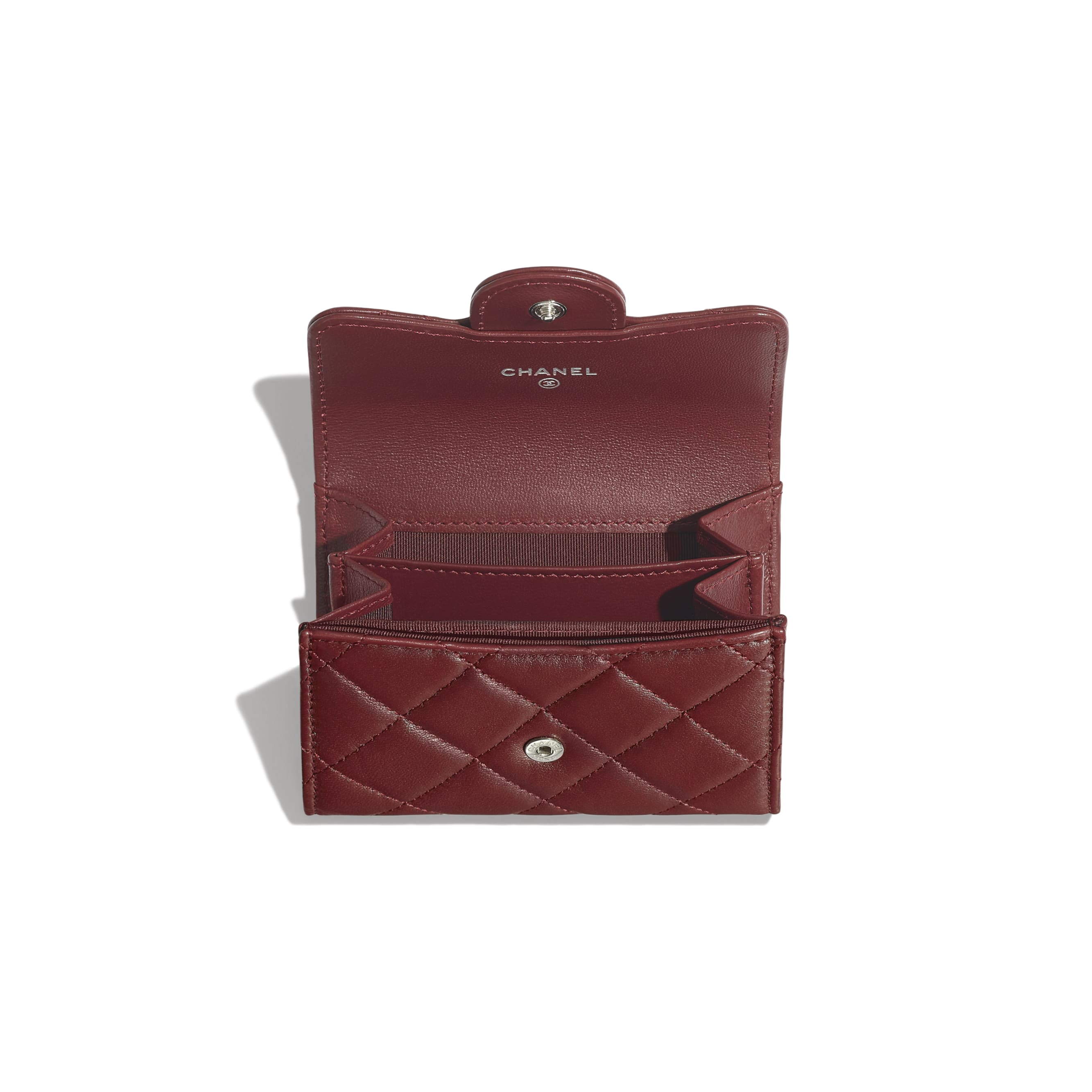 Classic Flap Coin Purse - Burgundy - Lambskin - Other view - see standard sized version