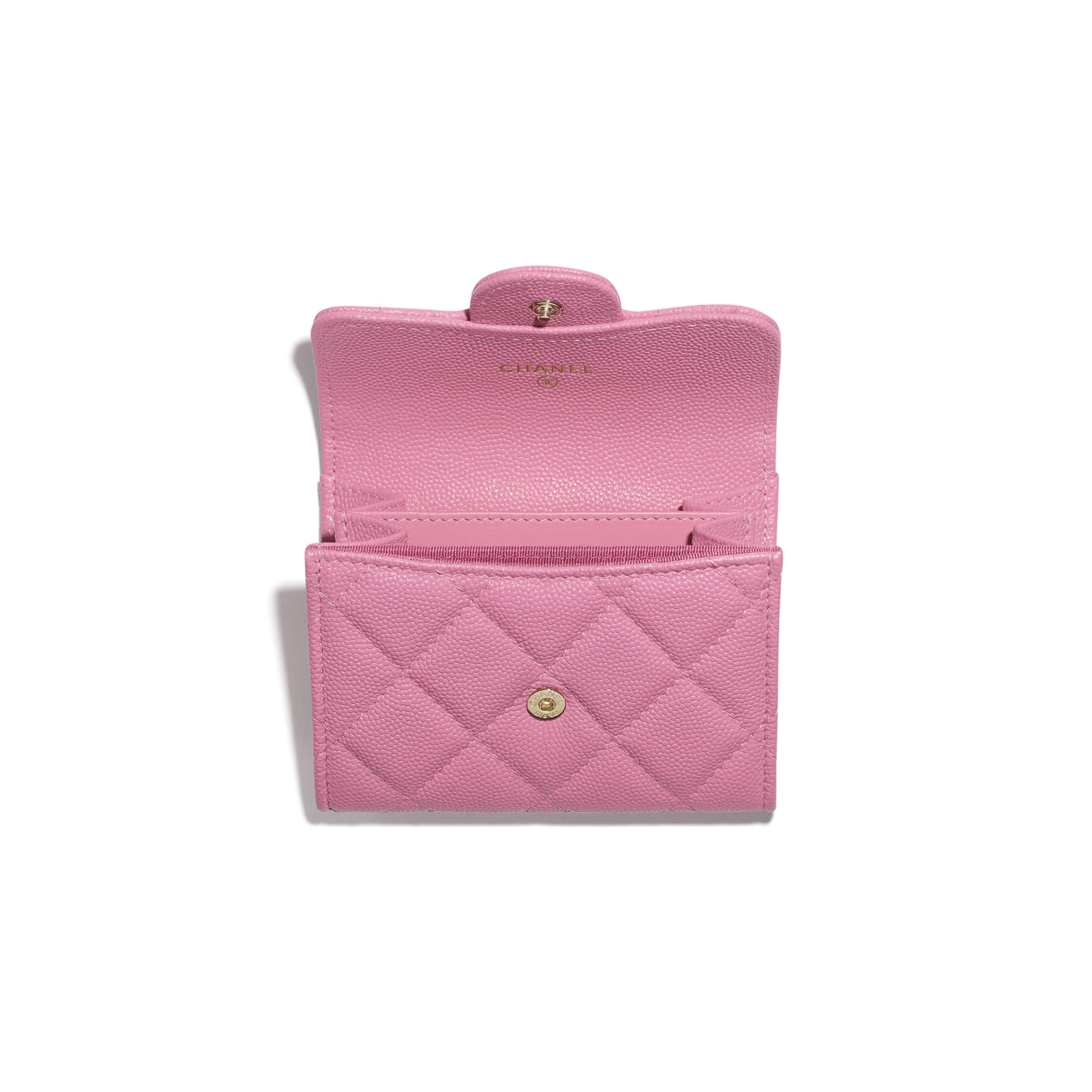 Classic Flap Coin Purse - Pink - Grained Calfskin & Gold-Tone Metal - CHANEL - Alternative view - see standard sized version