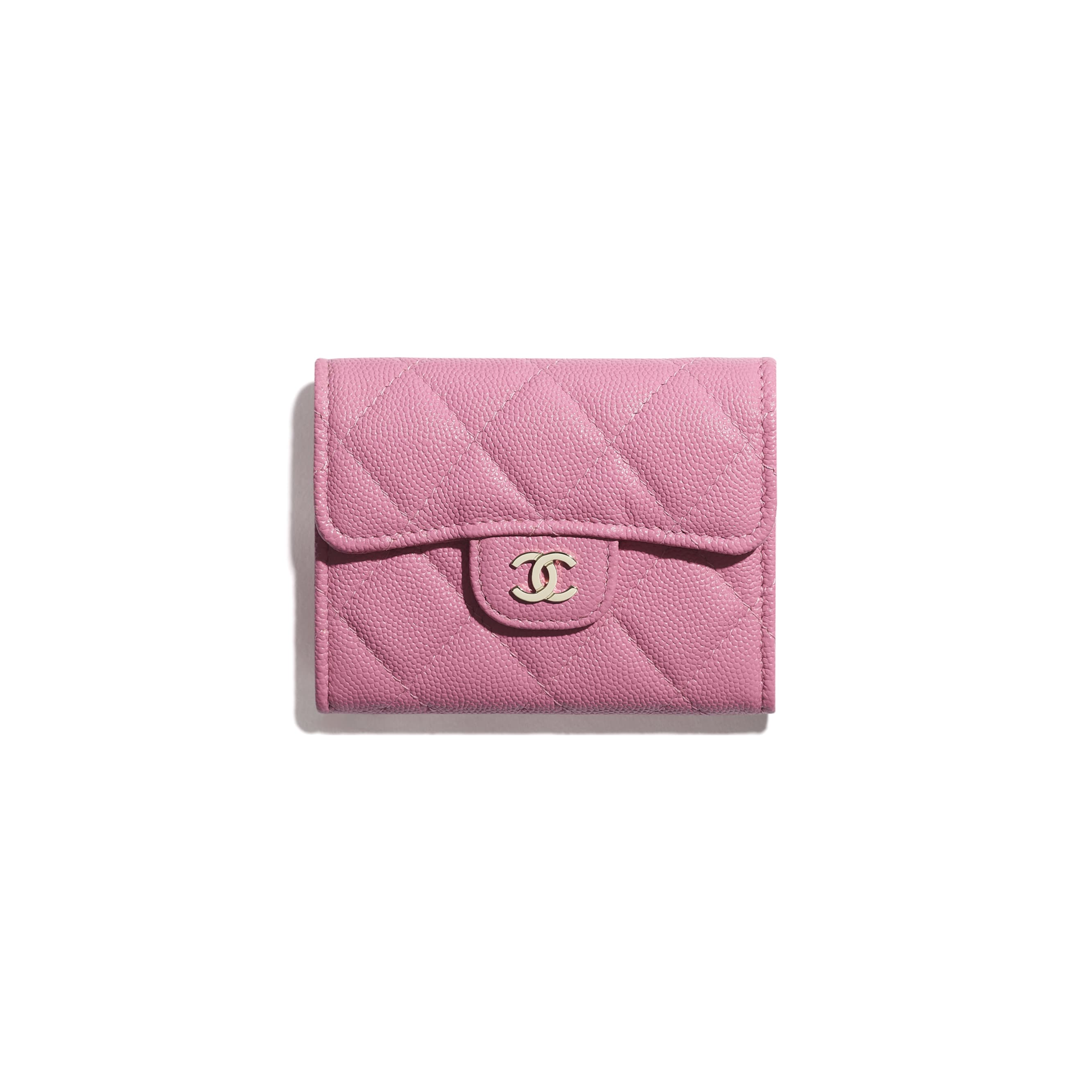 Classic Flap Coin Purse - Pink - Grained Calfskin & Gold-Tone Metal - CHANEL - Default view - see standard sized version