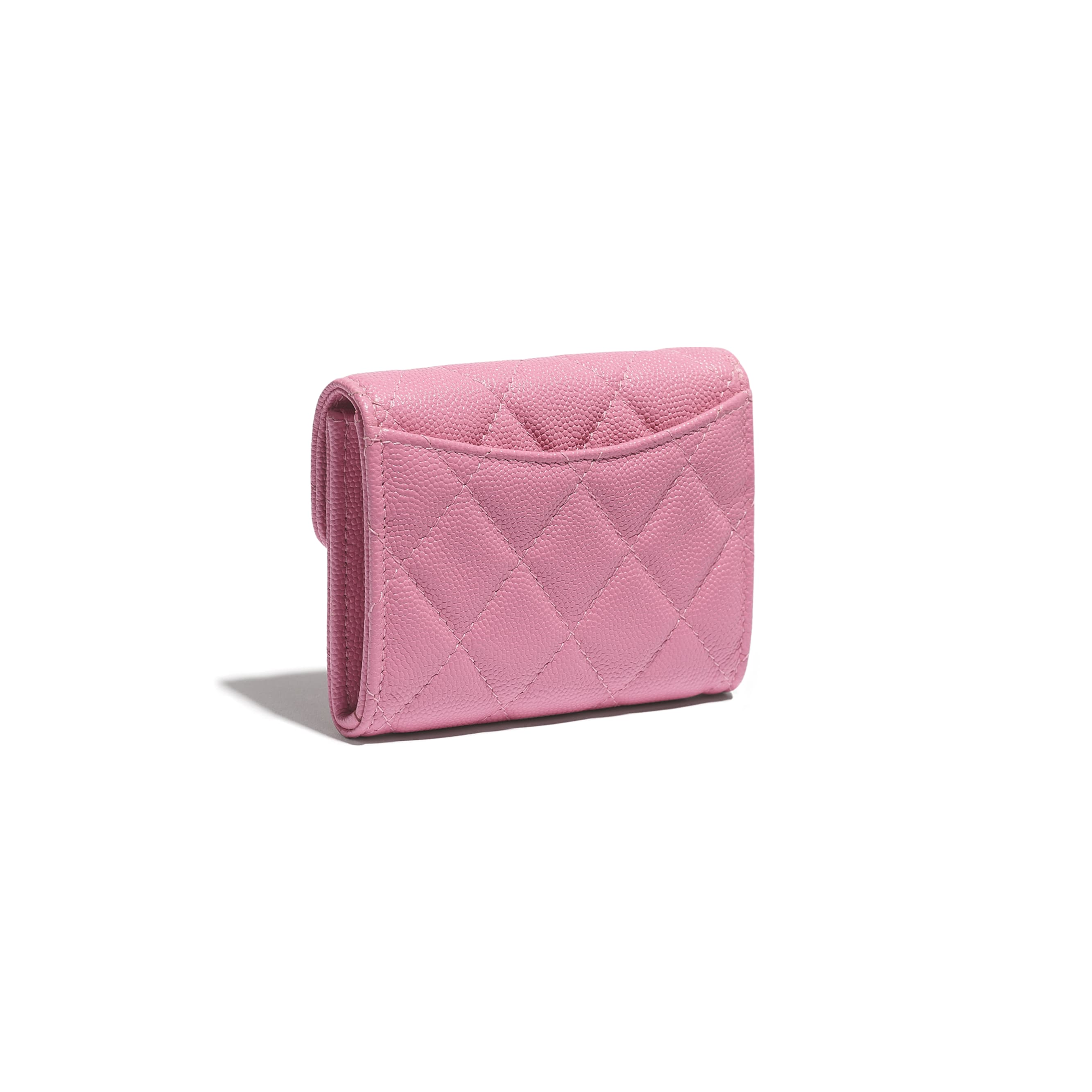 Classic Flap Coin Purse - Pink - Grained Calfskin & Gold-Tone Metal - CHANEL - Extra view - see standard sized version