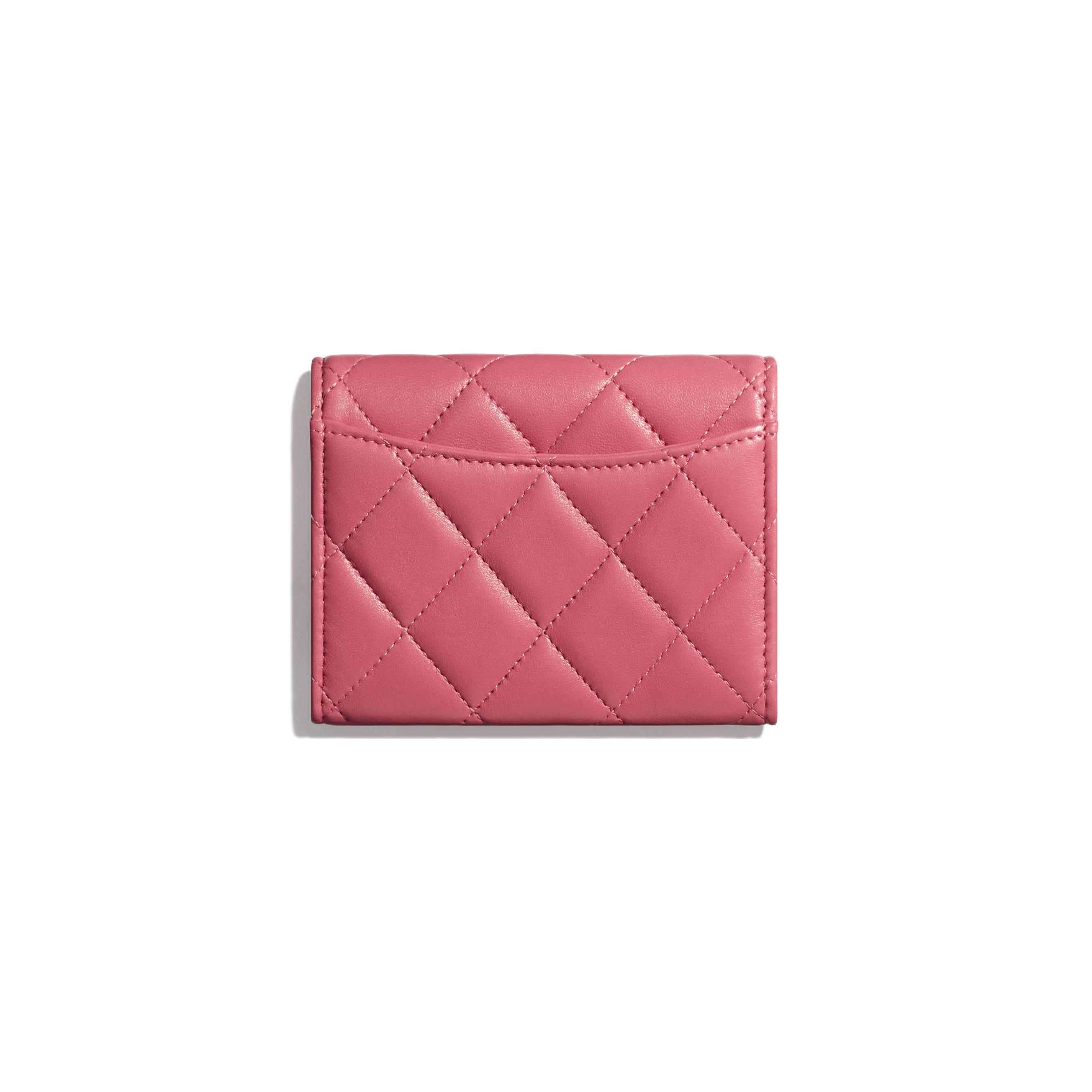 Klassisches Portemonnaie mit Patte - Rosa - Lammleder & silberfarbenes Metall - Alternative Ansicht - Standardgröße anzeigen
