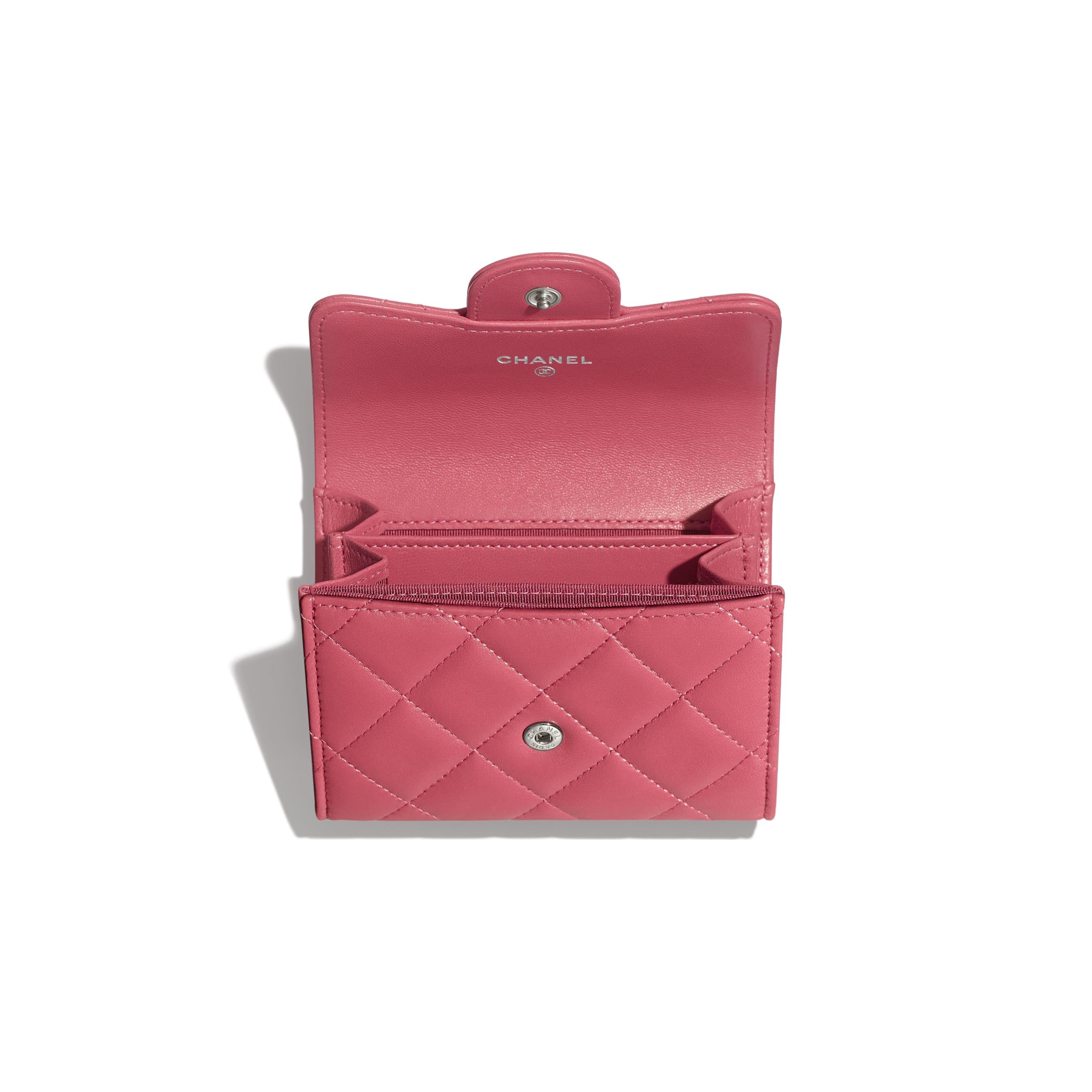 Кошелек-конверт - Розовый - Кожа ягненка и серебристый металл - Другое изображение - посмотреть изображение стандартного размера