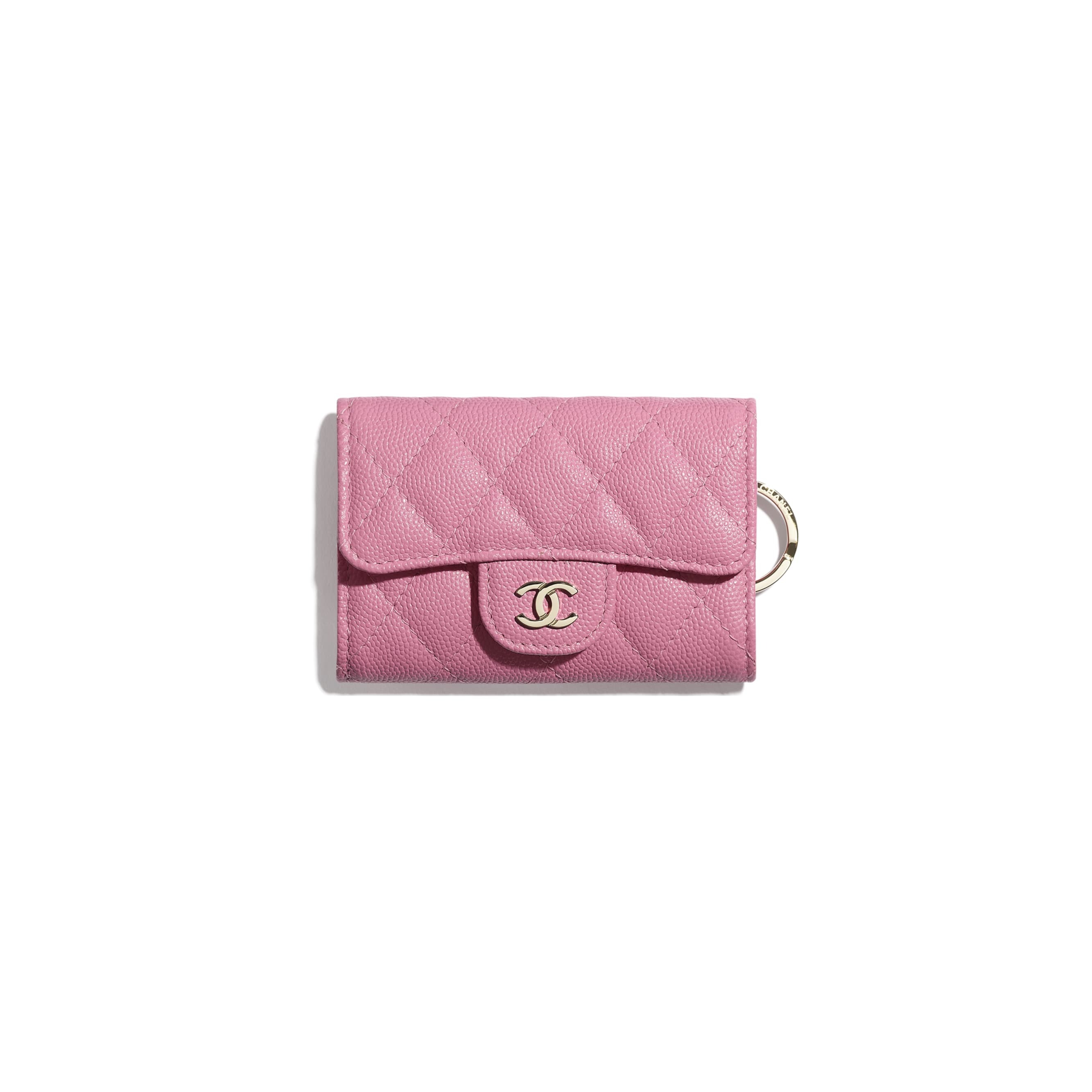 Classic Flap Key Holder - Pink - Grained Calfskin & Gold-Tone Metal - CHANEL - Default view - see standard sized version