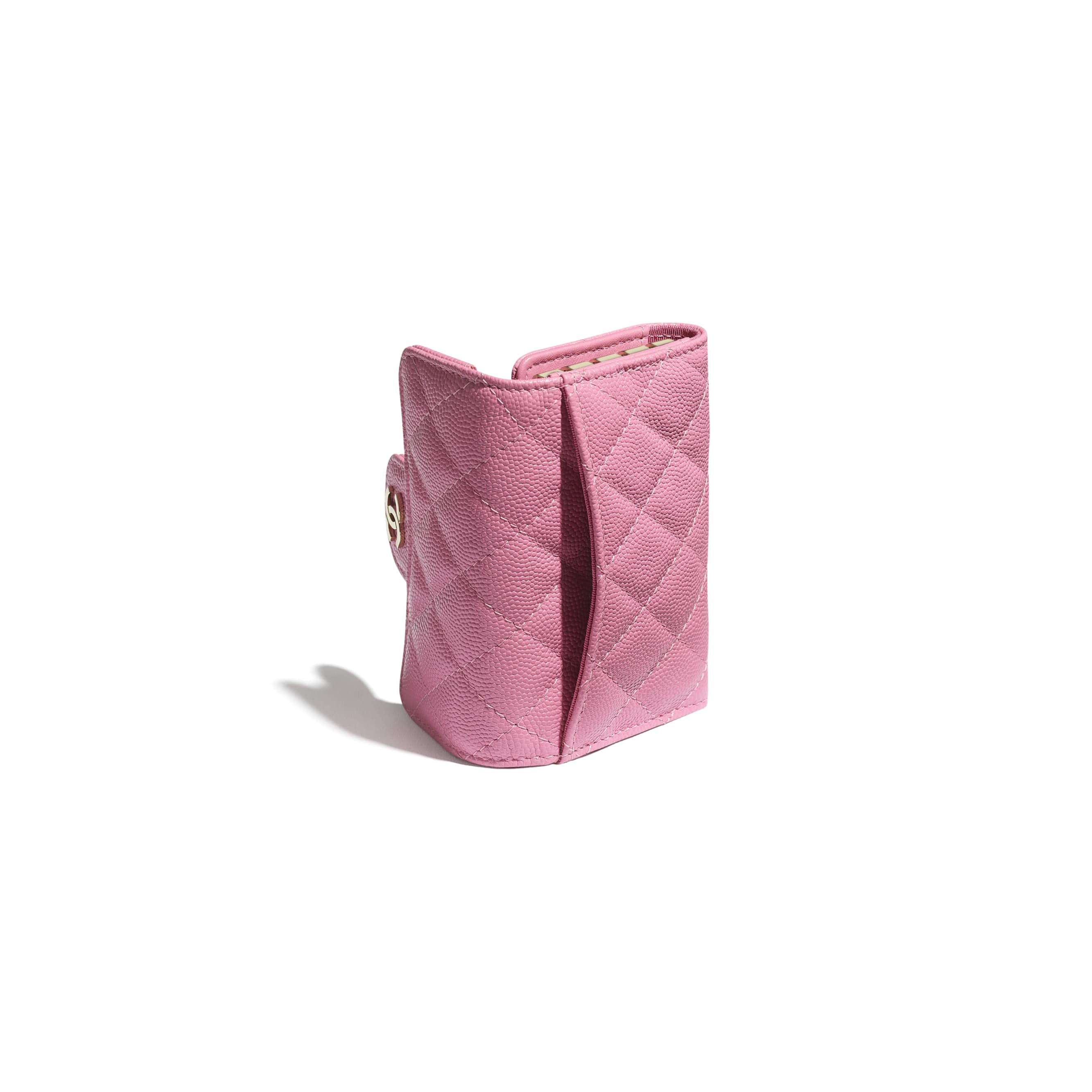 Classic Flap Key Holder - Pink - Grained Calfskin & Gold-Tone Metal - CHANEL - Extra view - see standard sized version