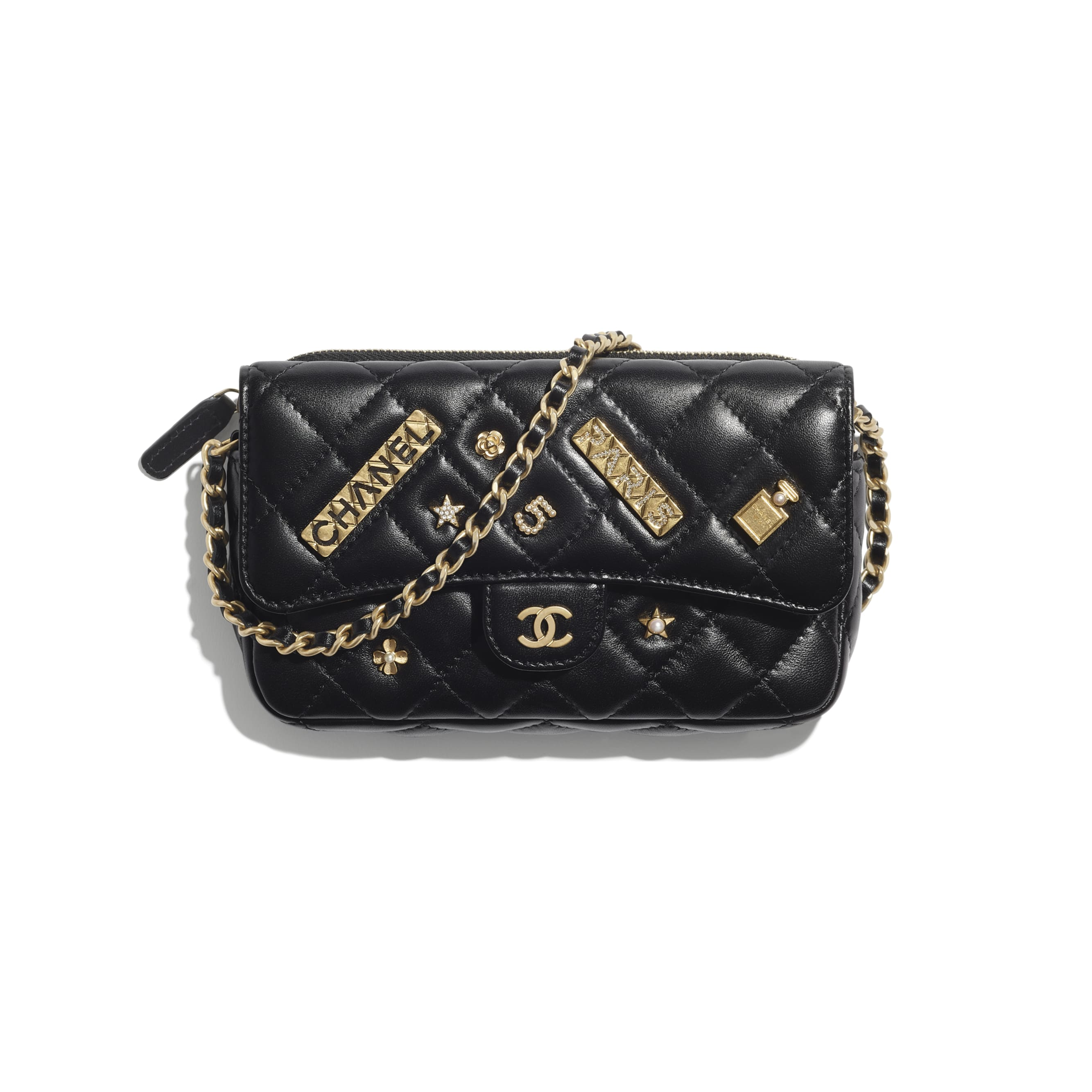 Classic Flap Phone Holder with Chain - Black - Lambskin - CHANEL - Default view - see standard sized version