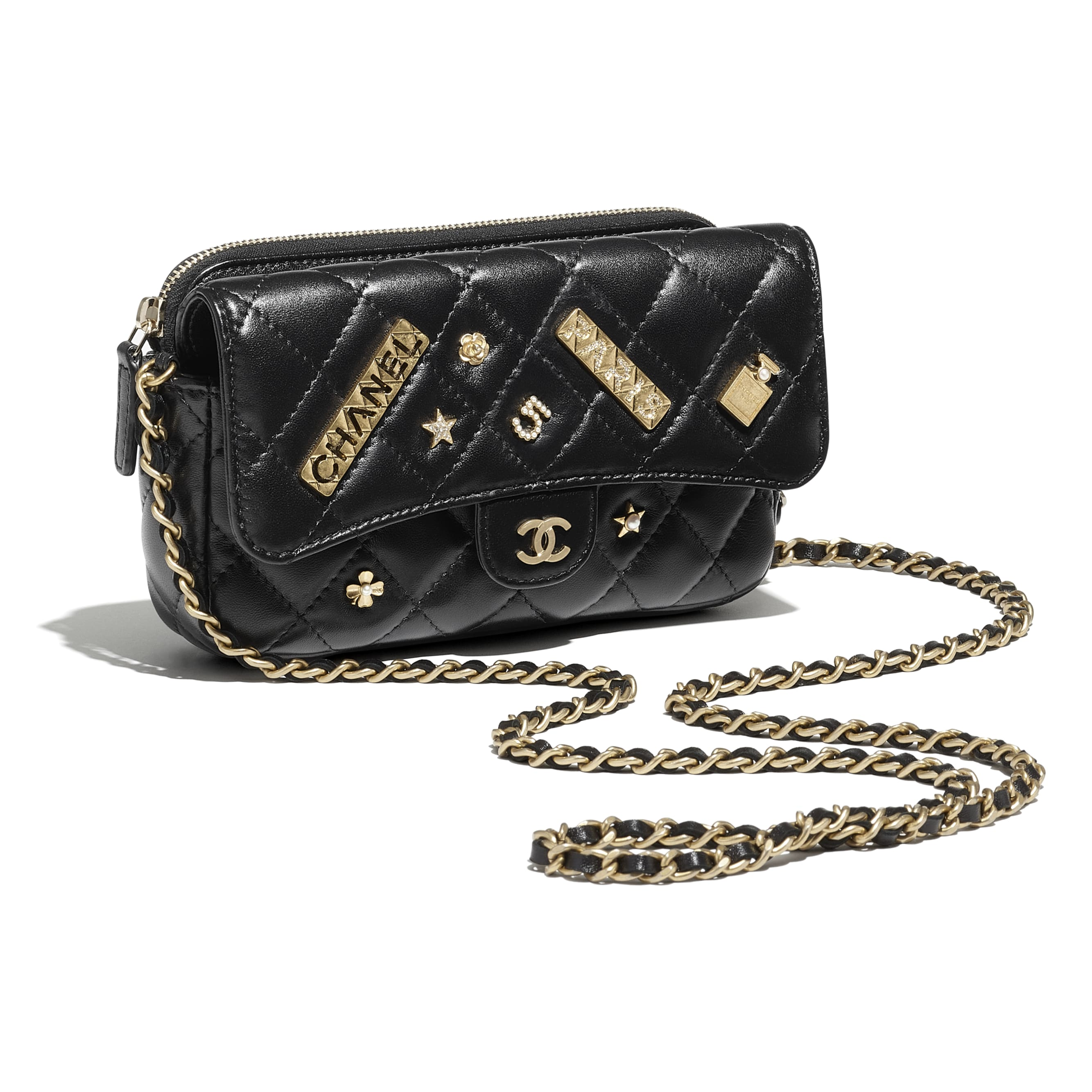 Classic Flap Phone Holder with Chain - Black - Lambskin - CHANEL - Other view - see standard sized version