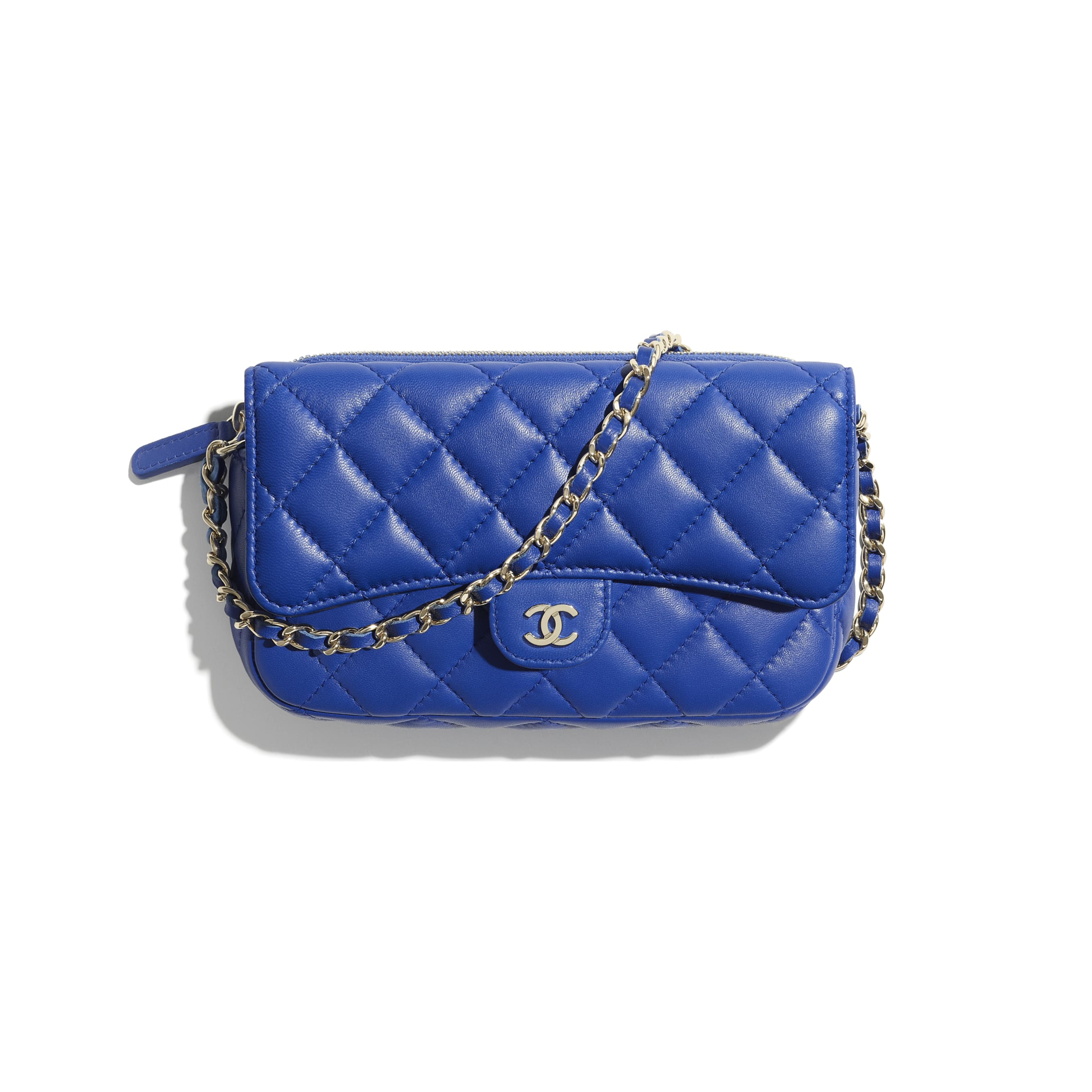 Classic Flap Phone Holder with Chain - Blue - Lambskin - CHANEL - Default view - see standard sized version