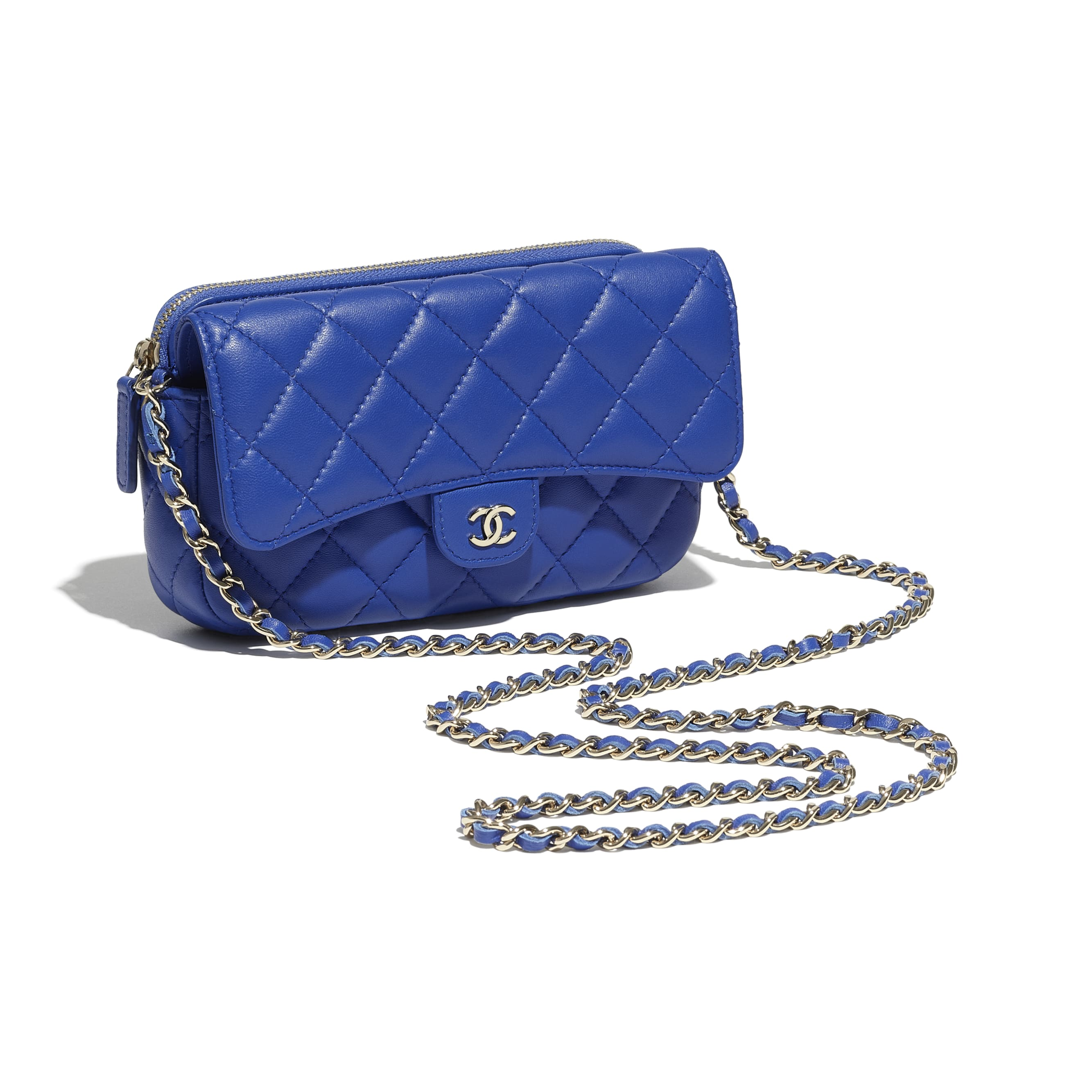 Classic Flap Phone Holder with Chain - Blue - Lambskin - CHANEL - Other view - see standard sized version