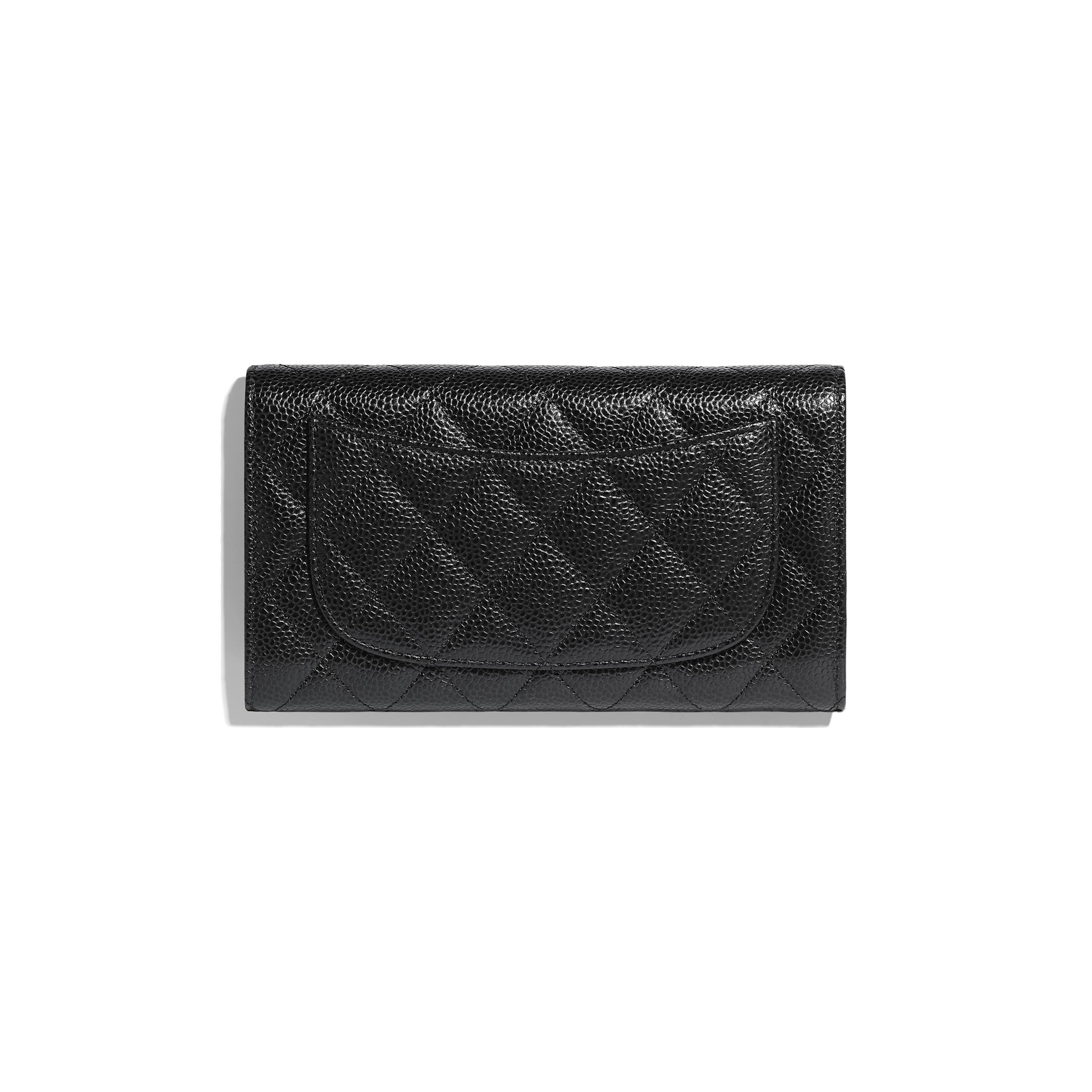 Classic Flap Wallet - Black - Grained Calfskin & Gold-Tone Metal - CHANEL - Alternative view - see standard sized version
