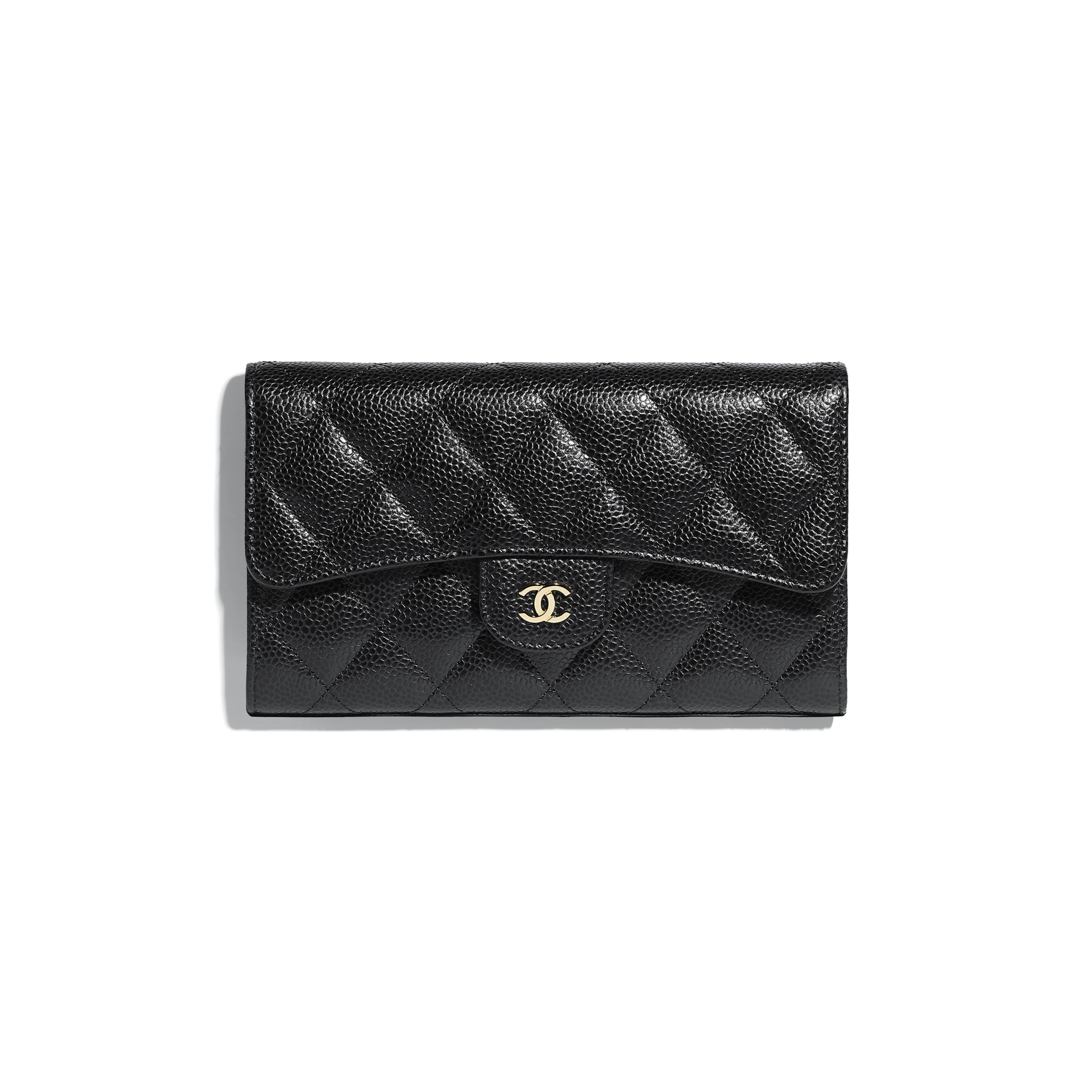 Classic Flap Wallet - Black - Grained Calfskin & Gold-Tone Metal - CHANEL - Default view - see standard sized version