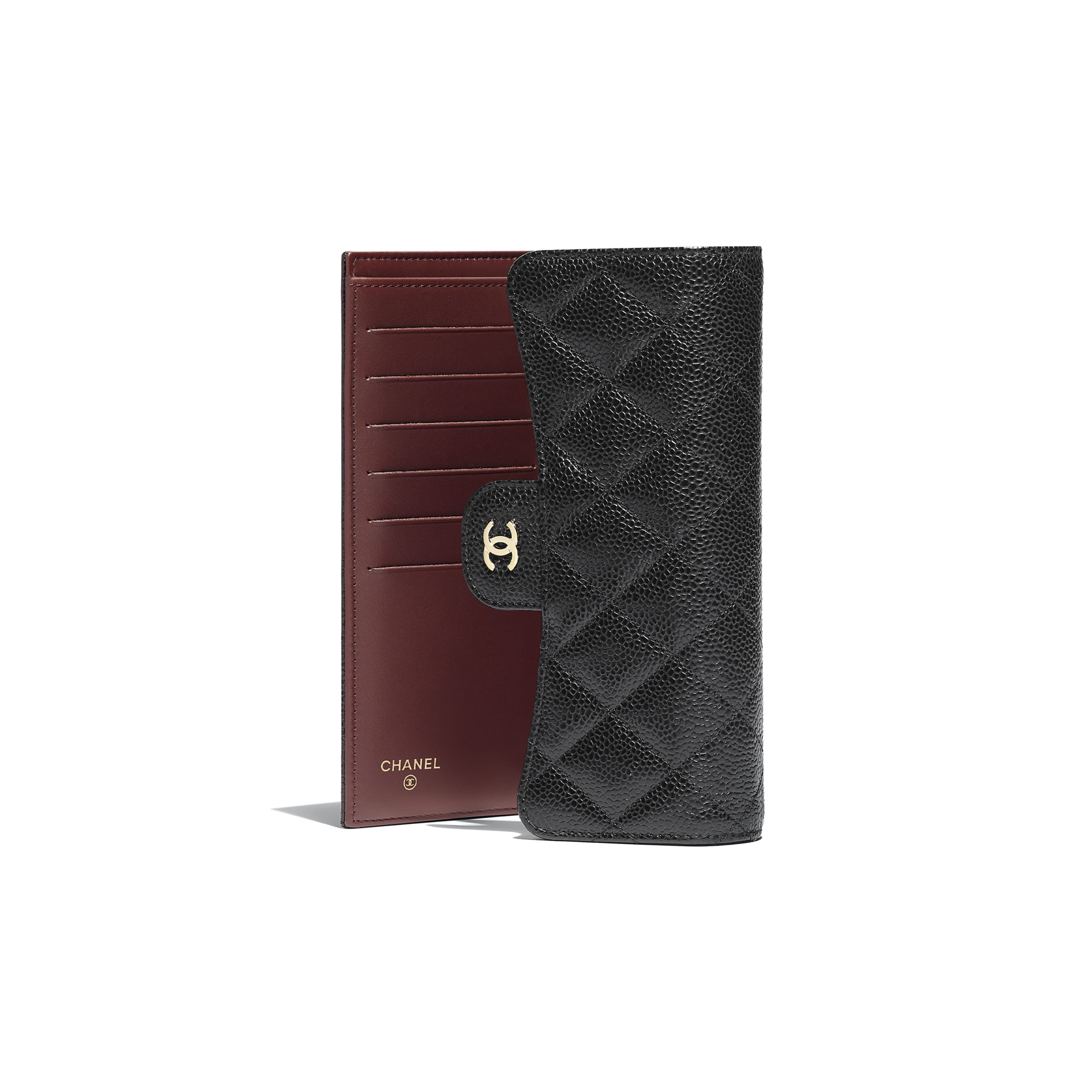 Classic Flap Wallet - Black - Grained Calfskin & Gold-Tone Metal - CHANEL - Other view - see standard sized version