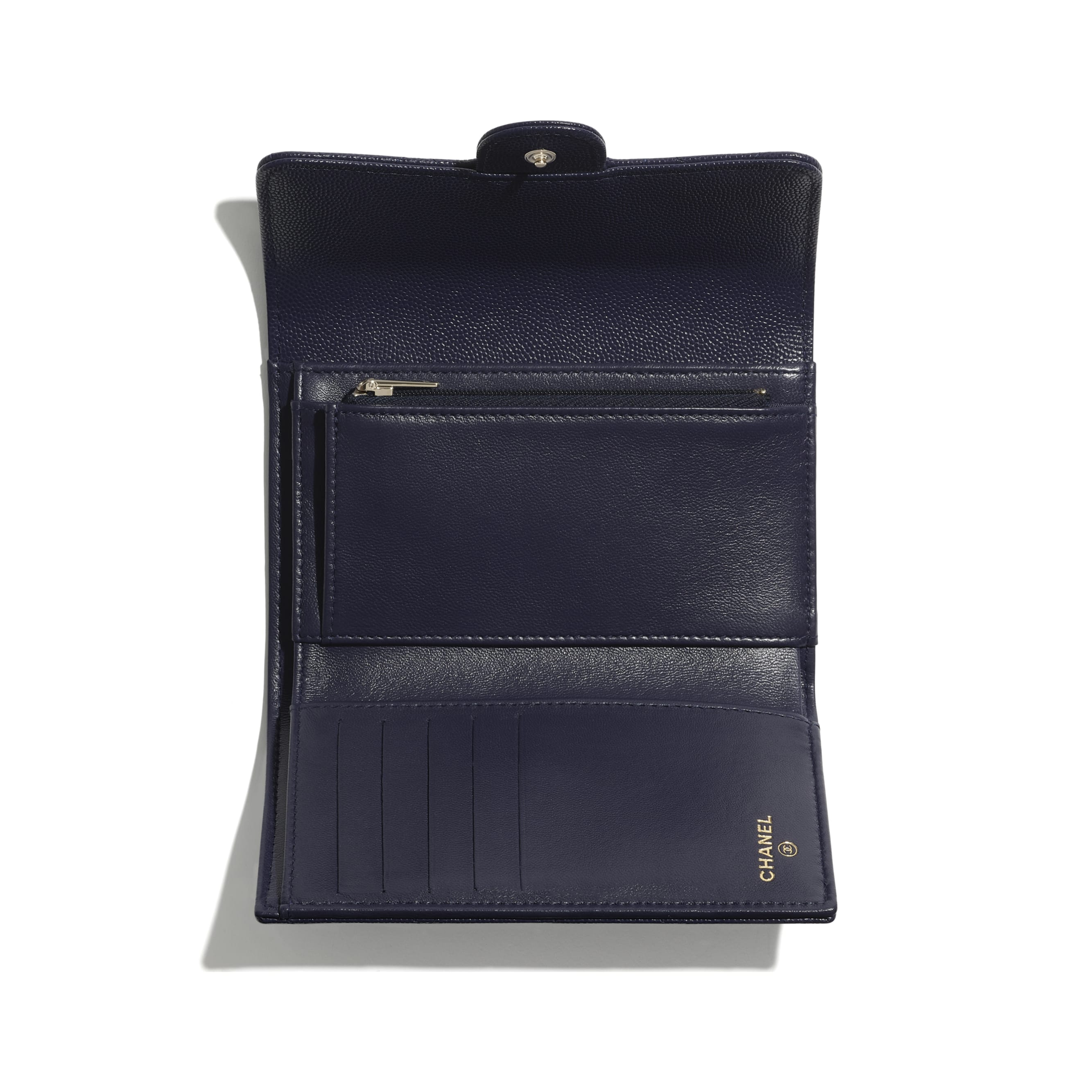 Classic Flap Wallet - Navy Blue - Grained Calfskin & Gold-Tone Metal - CHANEL - Alternative view - see standard sized version