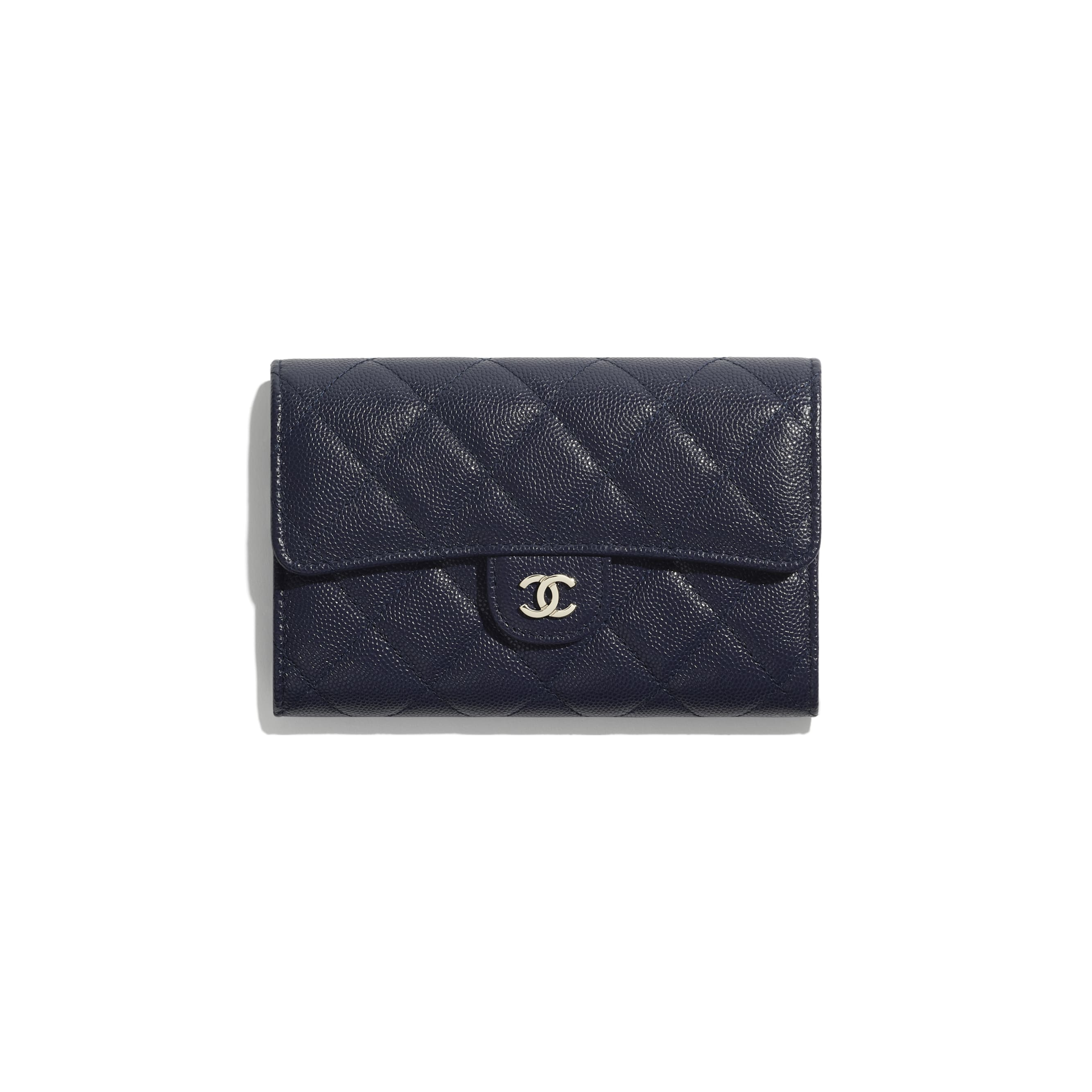 Classic Flap Wallet - Navy Blue - Grained Calfskin & Gold-Tone Metal - CHANEL - Default view - see standard sized version
