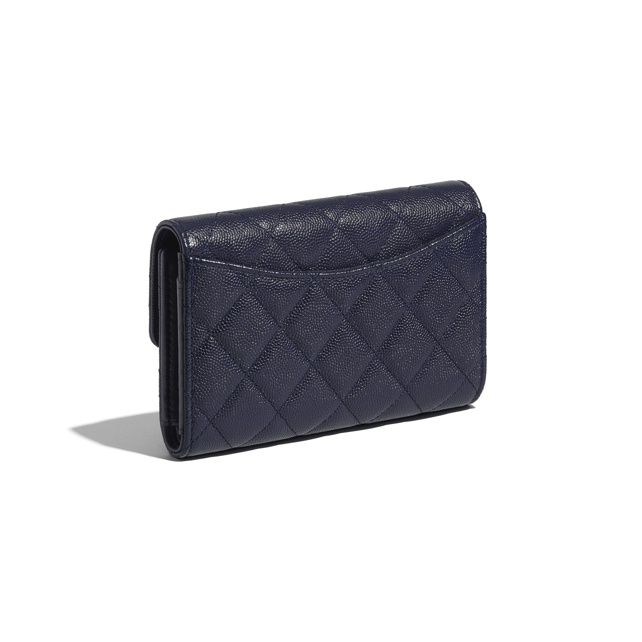 Classic Flap Wallet - Navy Blue - Grained Calfskin & Gold-Tone Metal - CHANEL - Extra view - see standard sized version