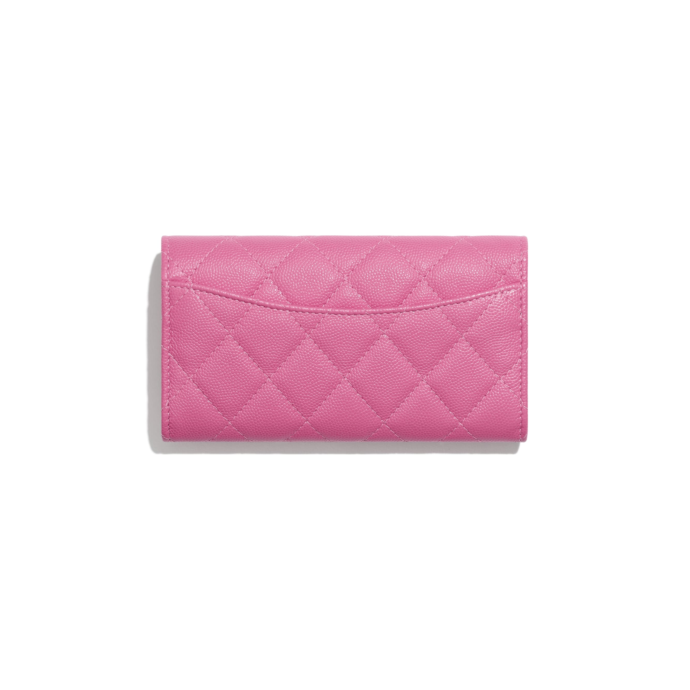Classic Flap Wallet - Pink - Grained Calfskin & Gold-Tone Metal - Alternative view - see standard sized version