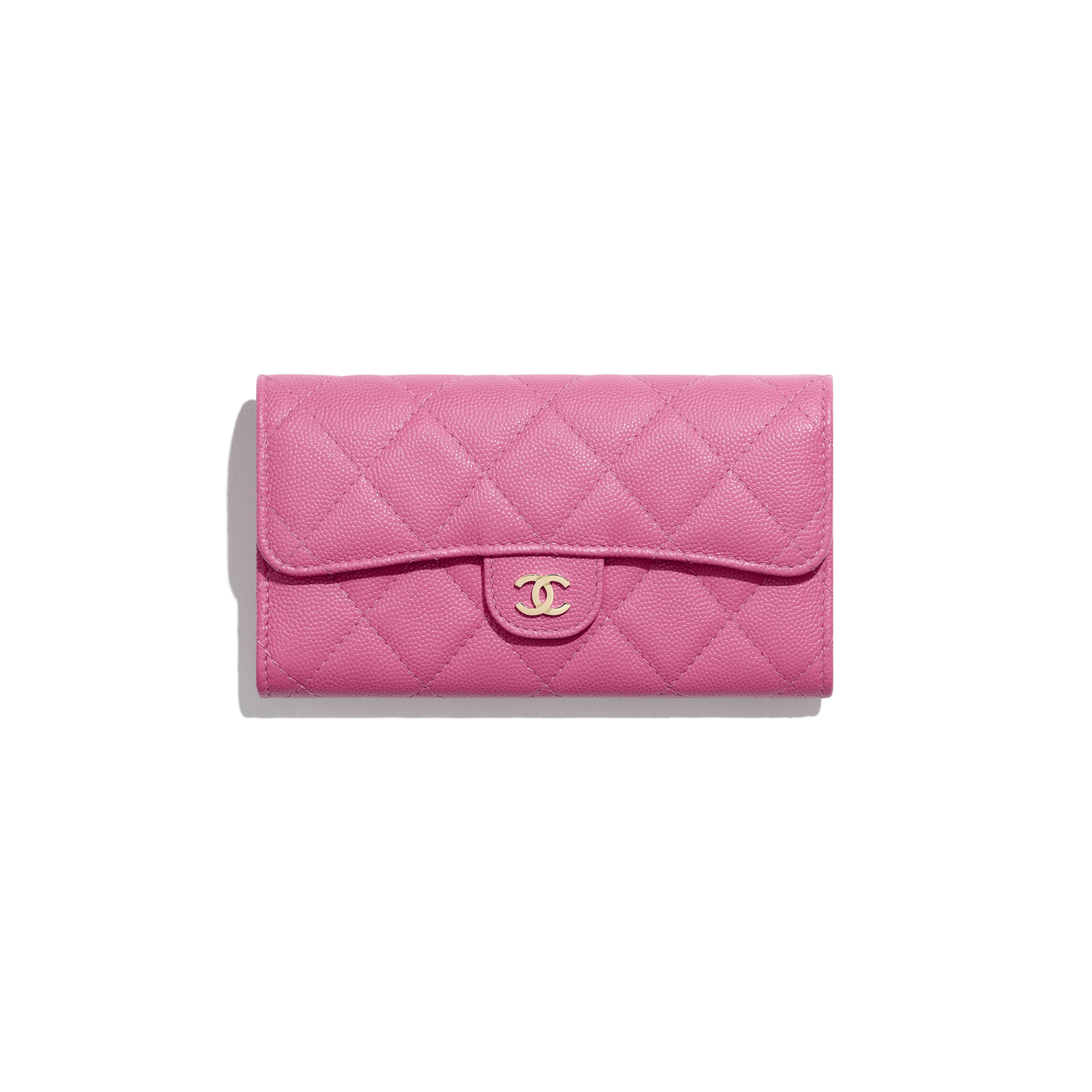 Classic Flap Wallet - Pink - Grained Calfskin & Gold-Tone Metal - Default view - see standard sized version