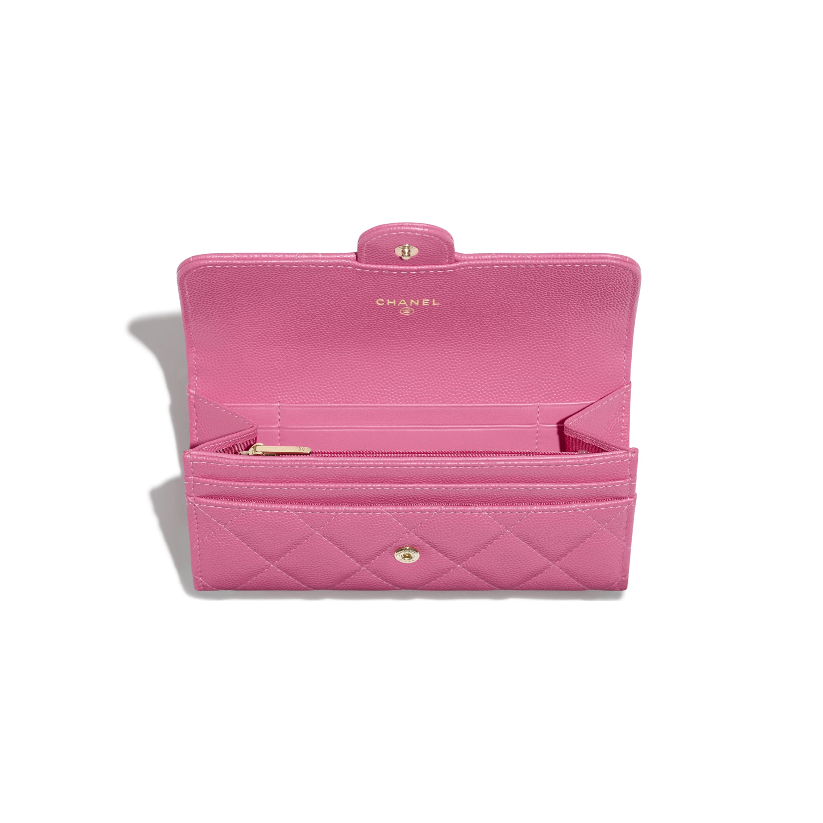 Classic Flap Wallet - Pink - Grained Calfskin & Gold-Tone Metal - Other view - see standard sized version