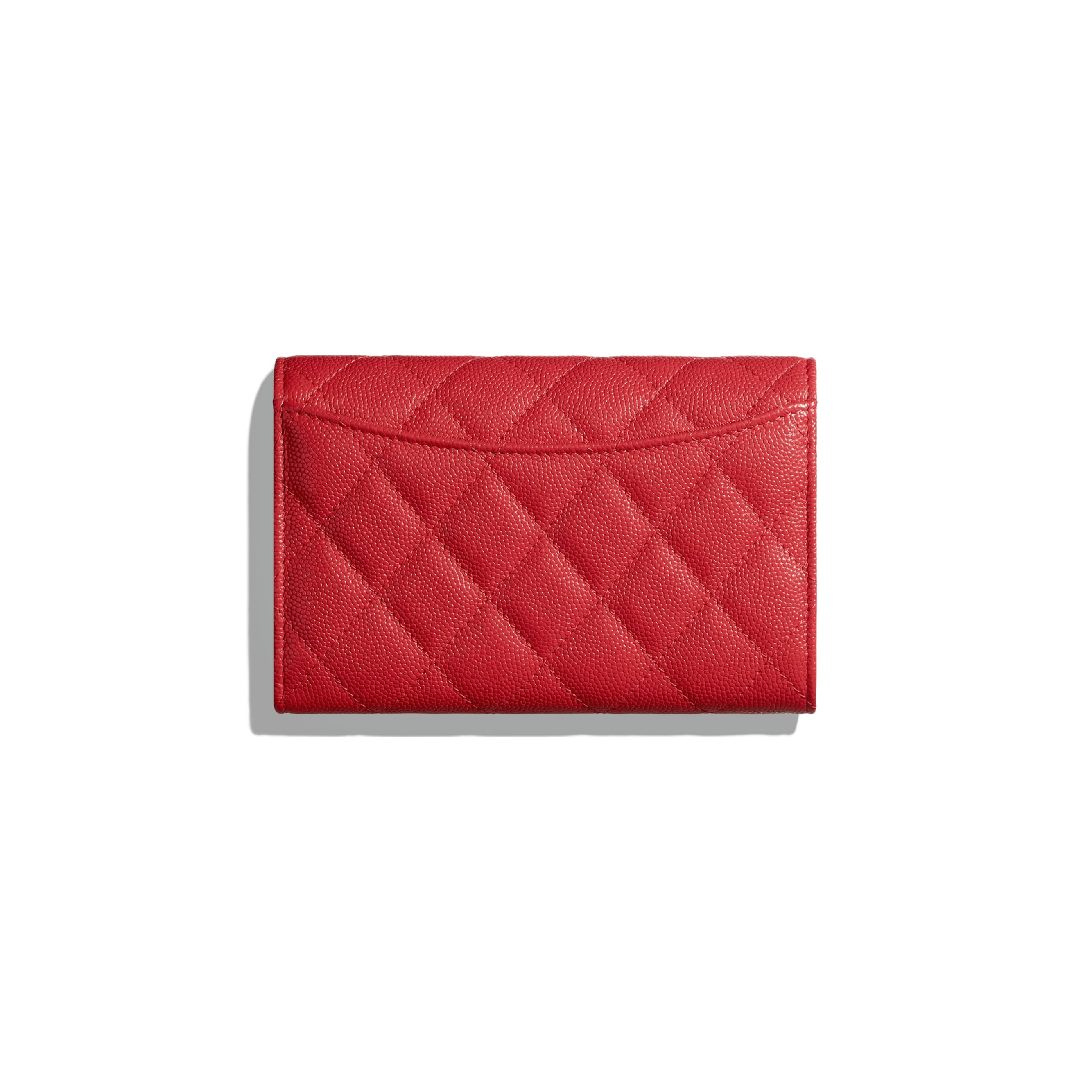Classic Flap Wallet - Red - Grained Calfskin & Gold-Tone Metal - CHANEL - Alternative view - see standard sized version