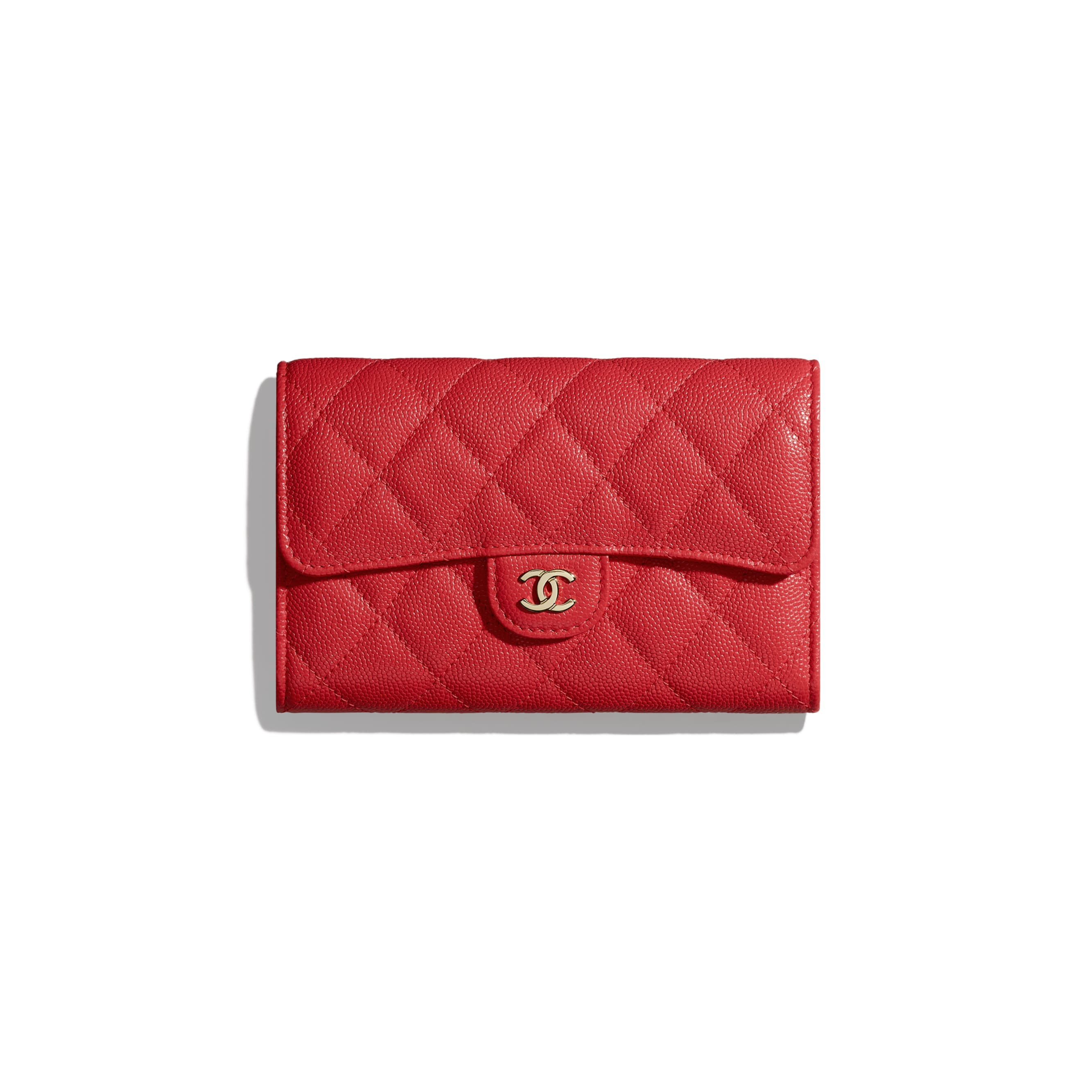 Classic Flap Wallet - Red - Grained Calfskin & Gold-Tone Metal - CHANEL - Default view - see standard sized version