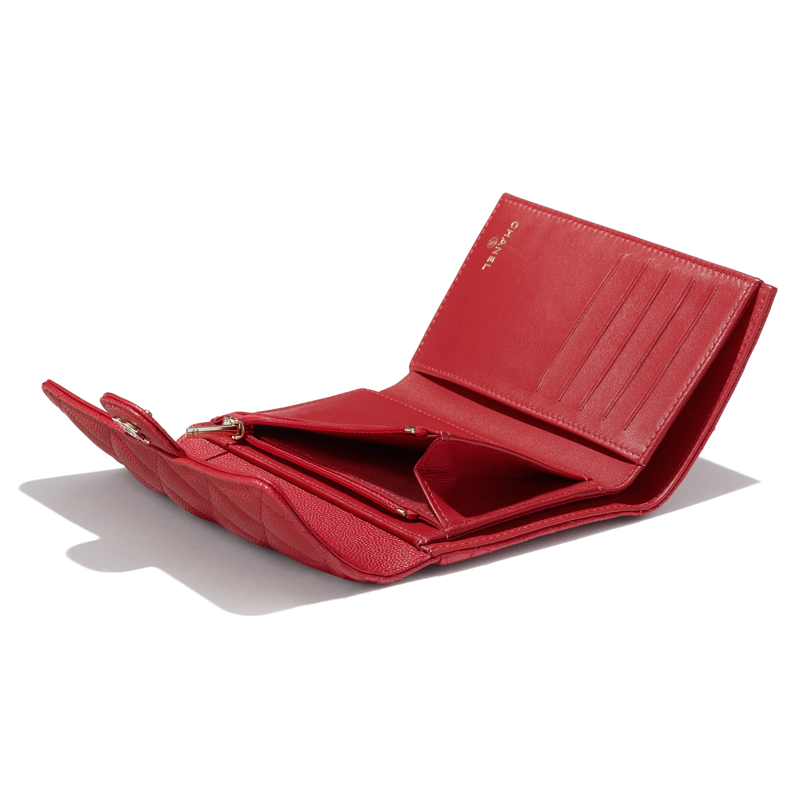 Classic Flap Wallet - Red - Grained Calfskin & Gold-Tone Metal - CHANEL - Extra view - see standard sized version
