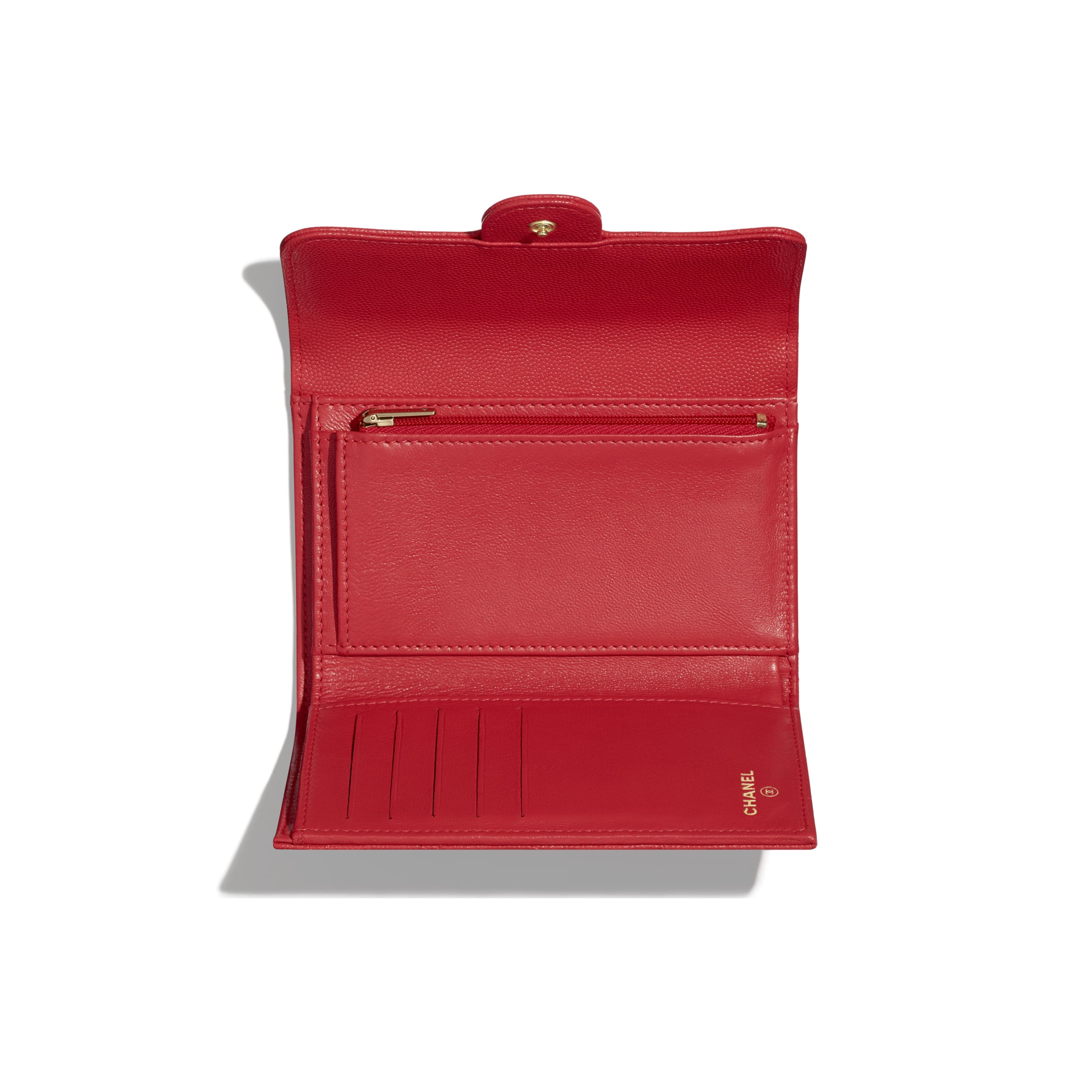 Classic Flap Wallet - Red - Grained Calfskin & Gold-Tone Metal - CHANEL - Other view - see standard sized version
