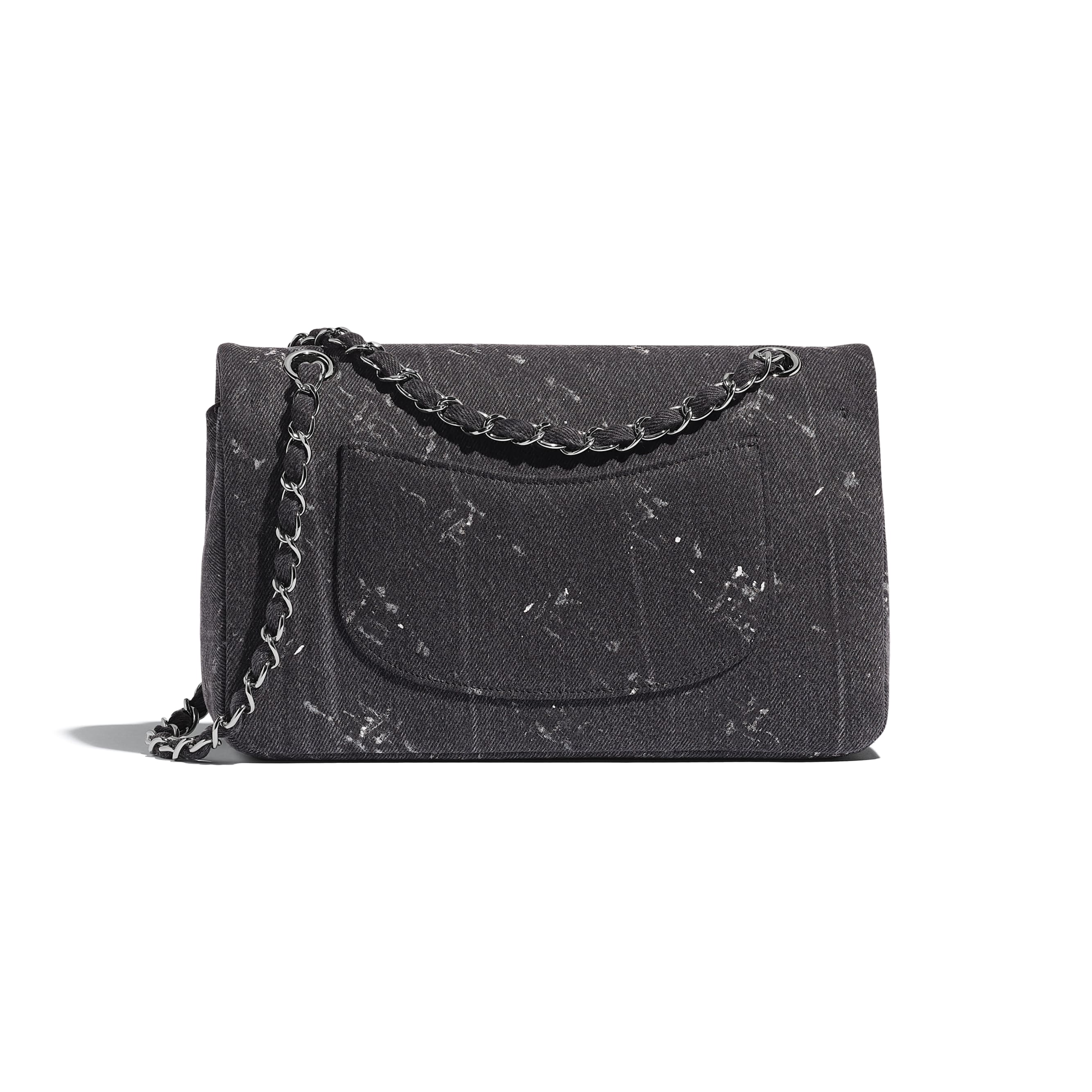 Classic Handbag - Black - Denim & Ruthenium-Finish Metal - Alternative view - see standard sized version