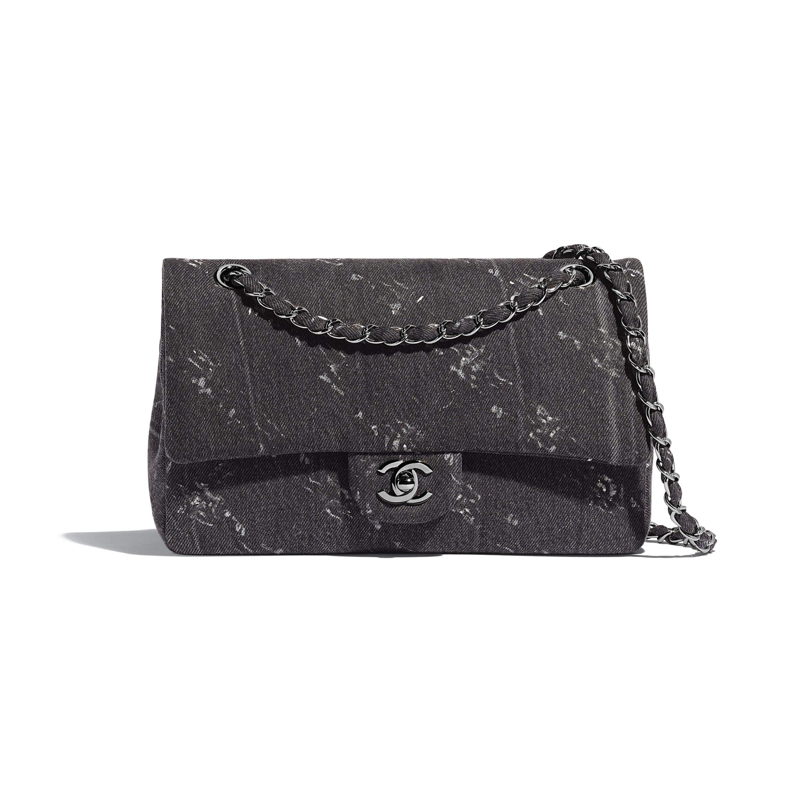 Classic Handbag - Black - Denim & Ruthenium-Finish Metal - Default view - see standard sized version