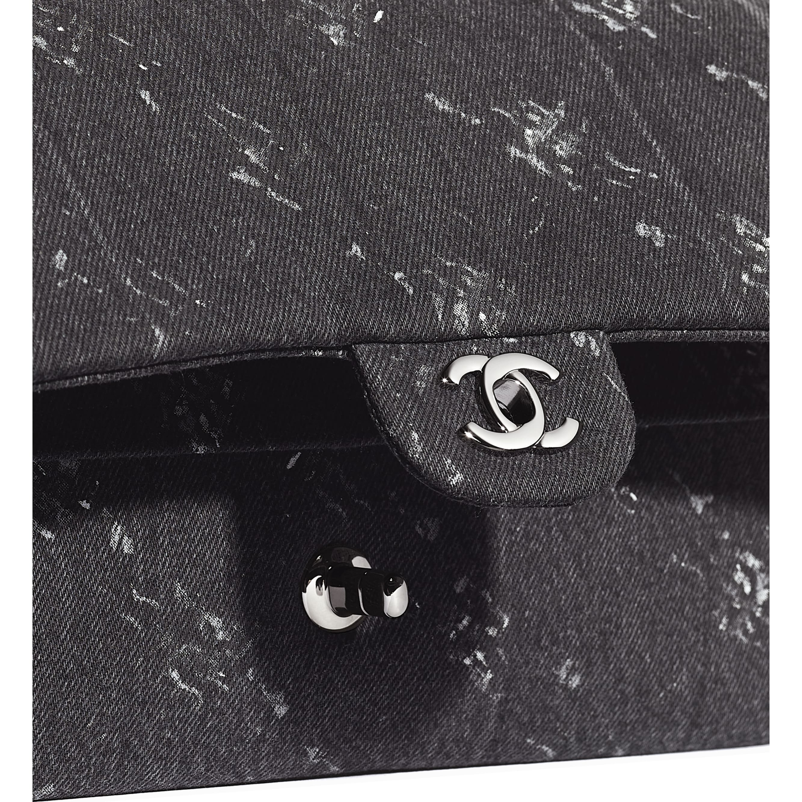 Classic Handbag - Black - Denim & Ruthenium-Finish Metal - Extra view - see standard sized version