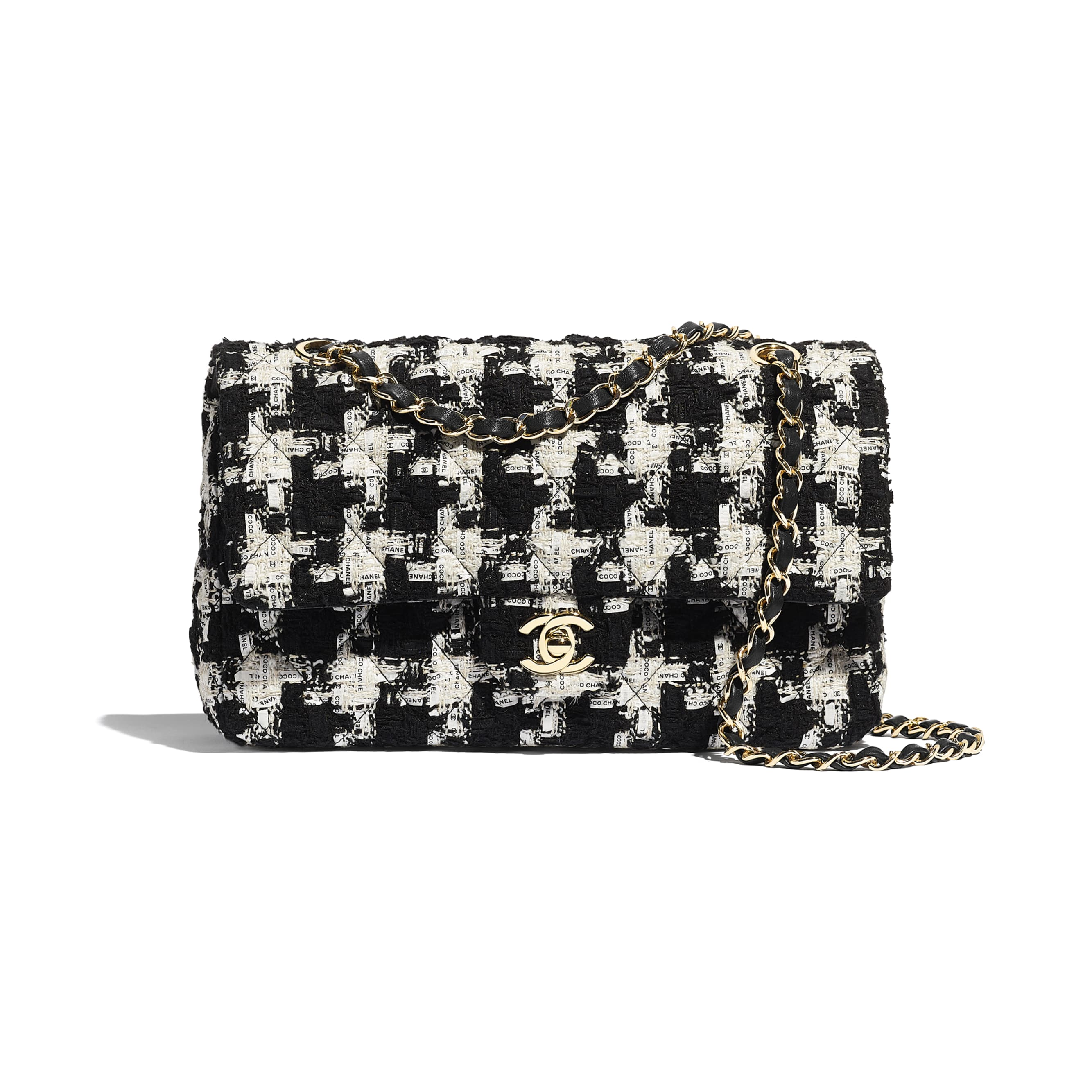 Classic Handbag - Black, Ecru & White - Tweed & Gold Metal - Default view - see standard sized version