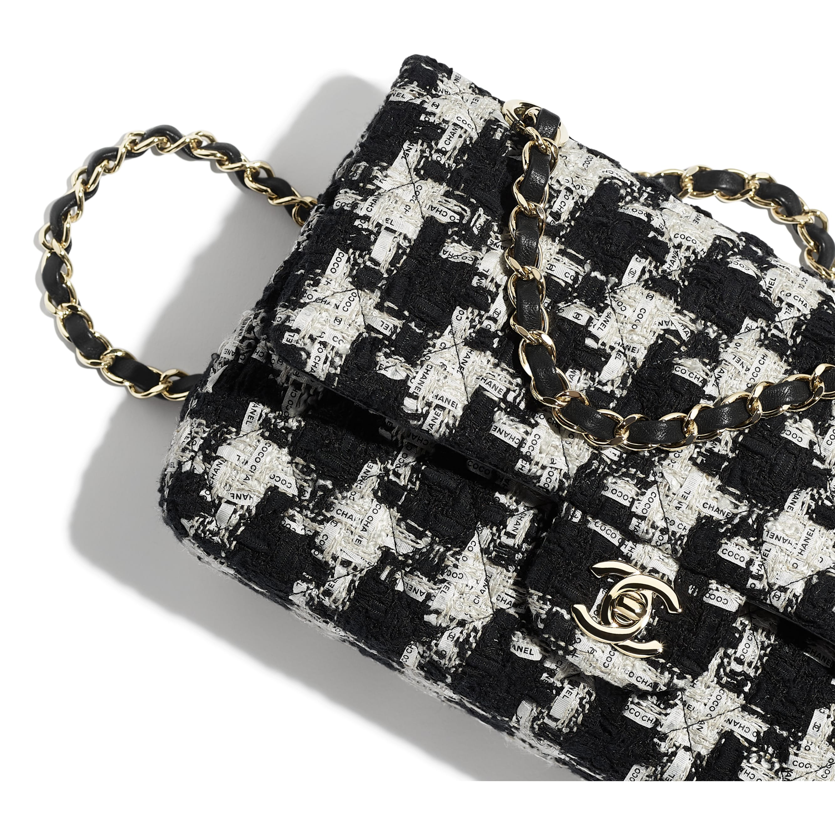 Classic Handbag - Black, Ecru & White - Tweed & Gold Metal - Extra view - see standard sized version