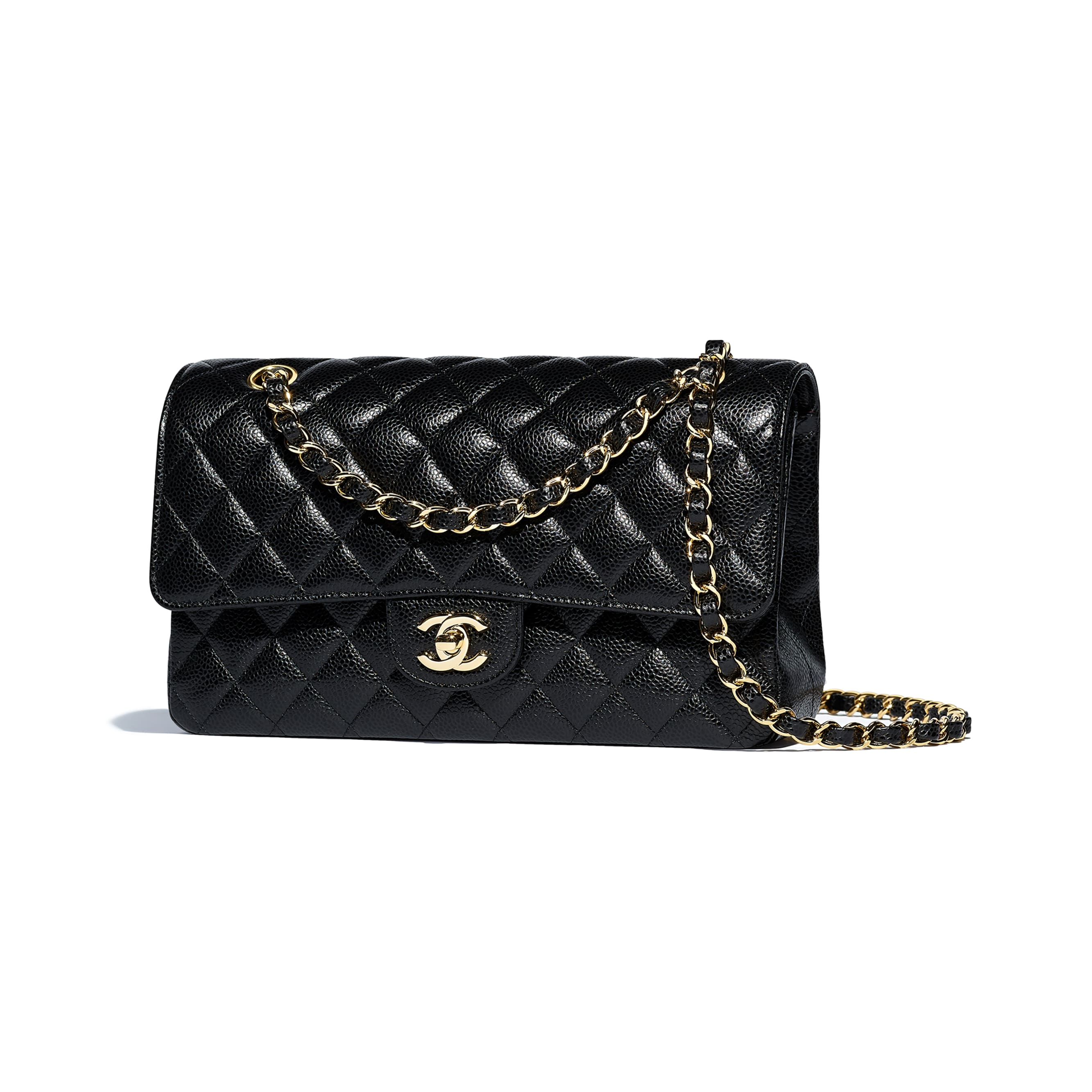 Classic Handbag - Black - Grained Calfskin & Gold-Tone Metal - Other view - see standard sized version