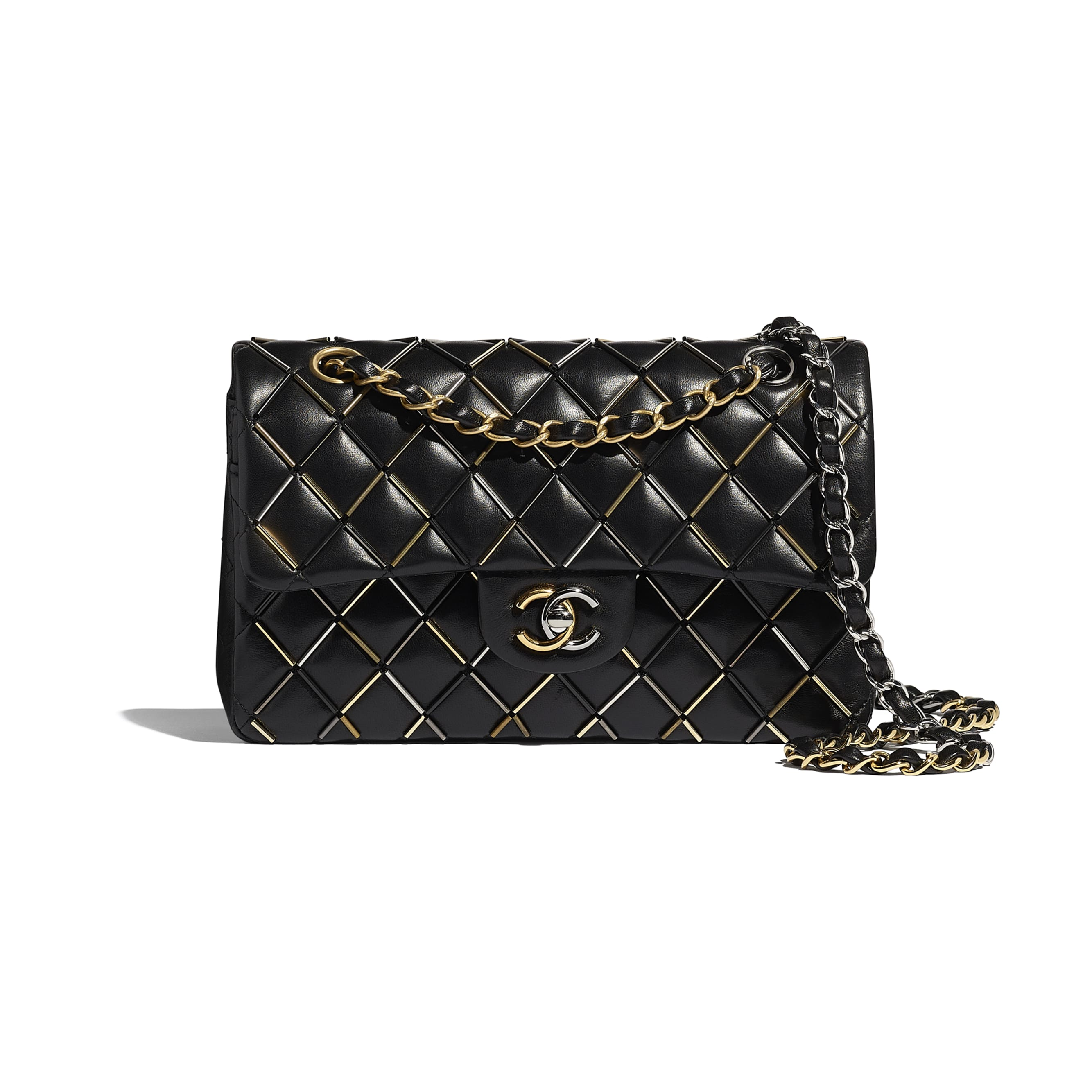 Classic Handbag - Black - Lambskin, Gold-Tone, Silver-Tone, Black & Ruthenium-Finish Metal  - Default view - see standard sized version