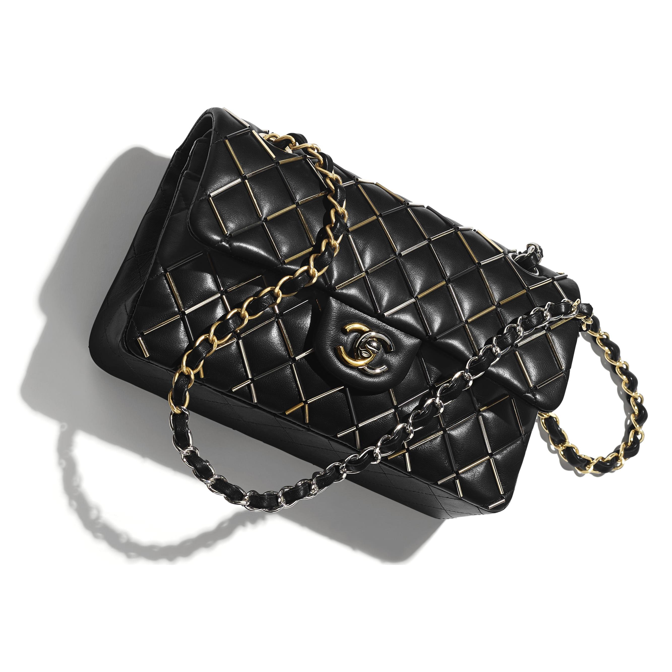 Classic Handbag - Black - Lambskin, Gold-Tone, Silver-Tone, Black & Ruthenium-Finish Metal  - Extra view - see standard sized version