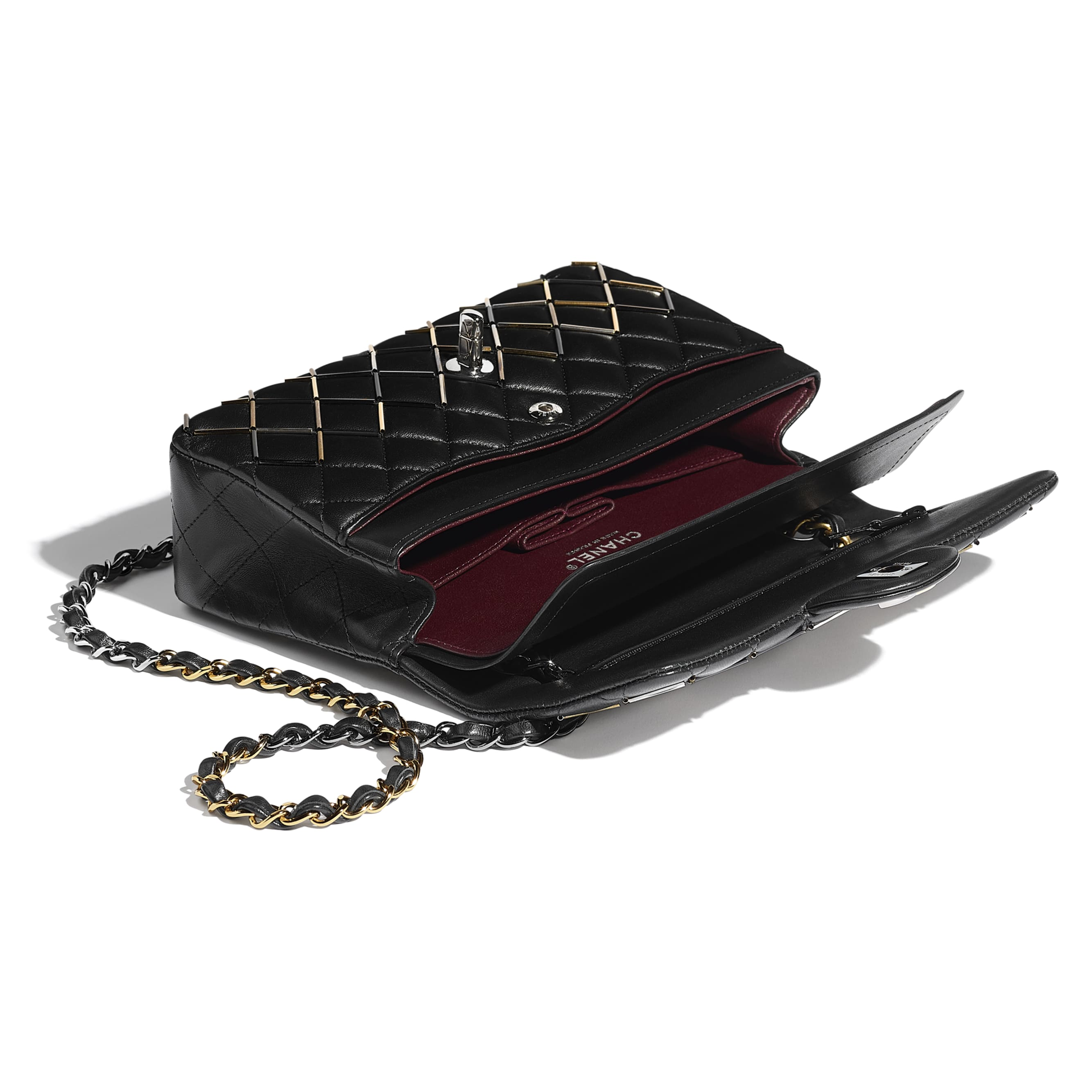 Classic Handbag - Black - Lambskin, Gold-Tone, Silver-Tone, Black & Ruthenium-Finish Metal  - Other view - see standard sized version