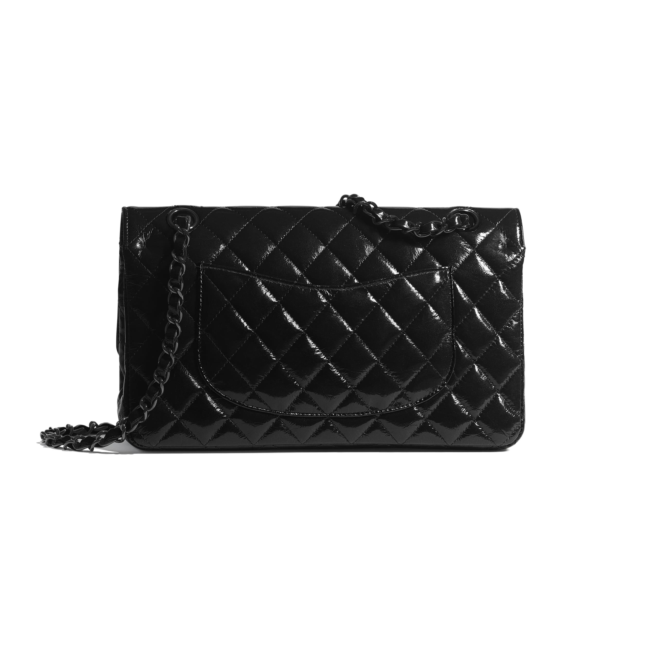 Classic Handbag - Black - Shiny Crumpled Calfksin & Black Metal - Alternative view - see standard sized version