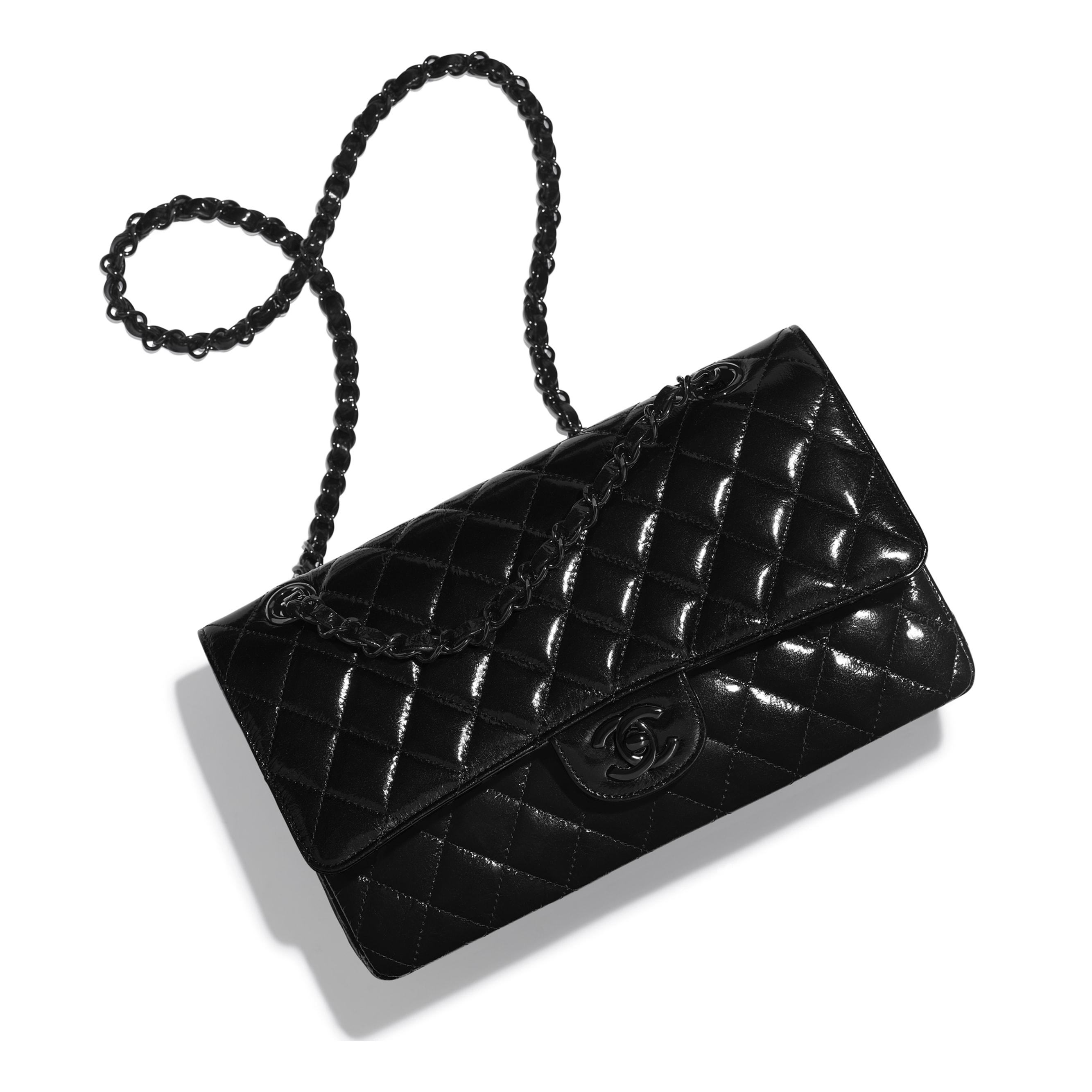 Classic Handbag - Black - Shiny Crumpled Calfksin & Black Metal - Extra view - see standard sized version
