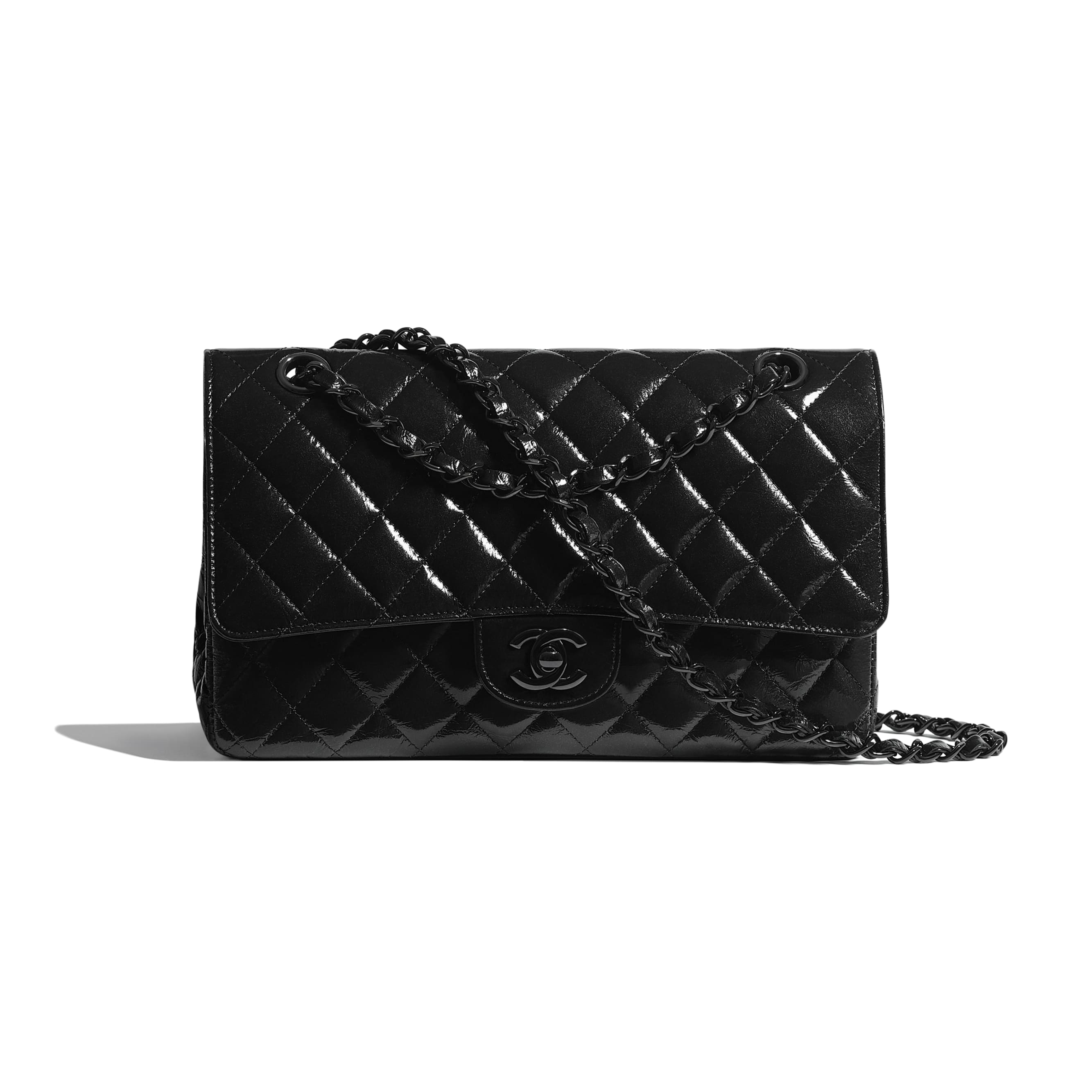Classic Handbag - Black - Shiny Crumpled Calfskin & Black Metal - CHANEL - Default view - see standard sized version