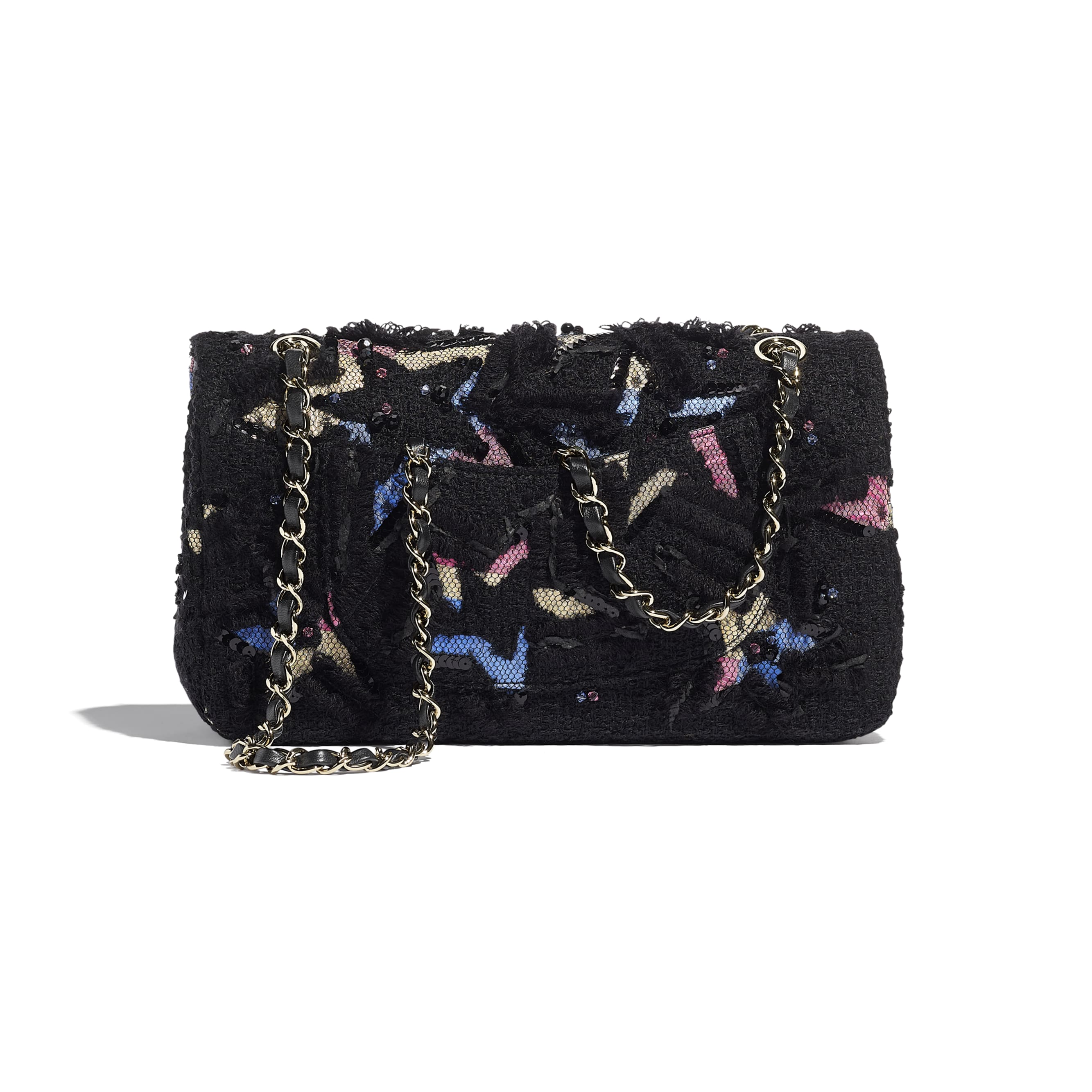 Classic Handbag - Black - Tweed, Cotton, Mixed Fibers, Sequins, Glass Pearls & Gold-Tone Metal - CHANEL - Alternative view - see standard sized version