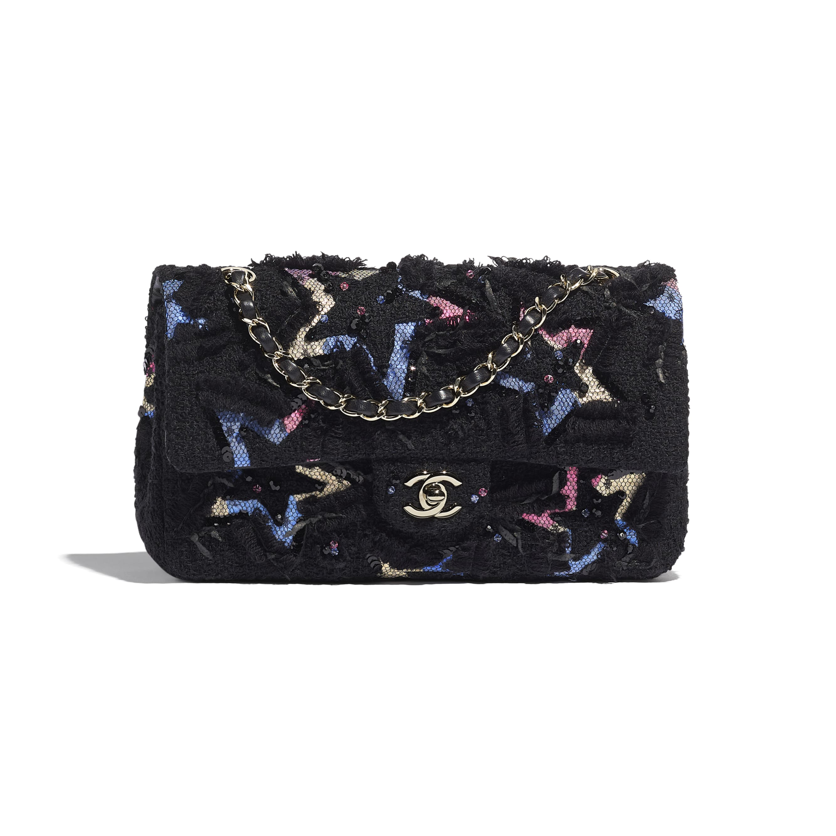 Classic Handbag - Black - Tweed, Cotton, Mixed Fibers, Sequins, Glass Pearls & Gold-Tone Metal - CHANEL - Default view - see standard sized version